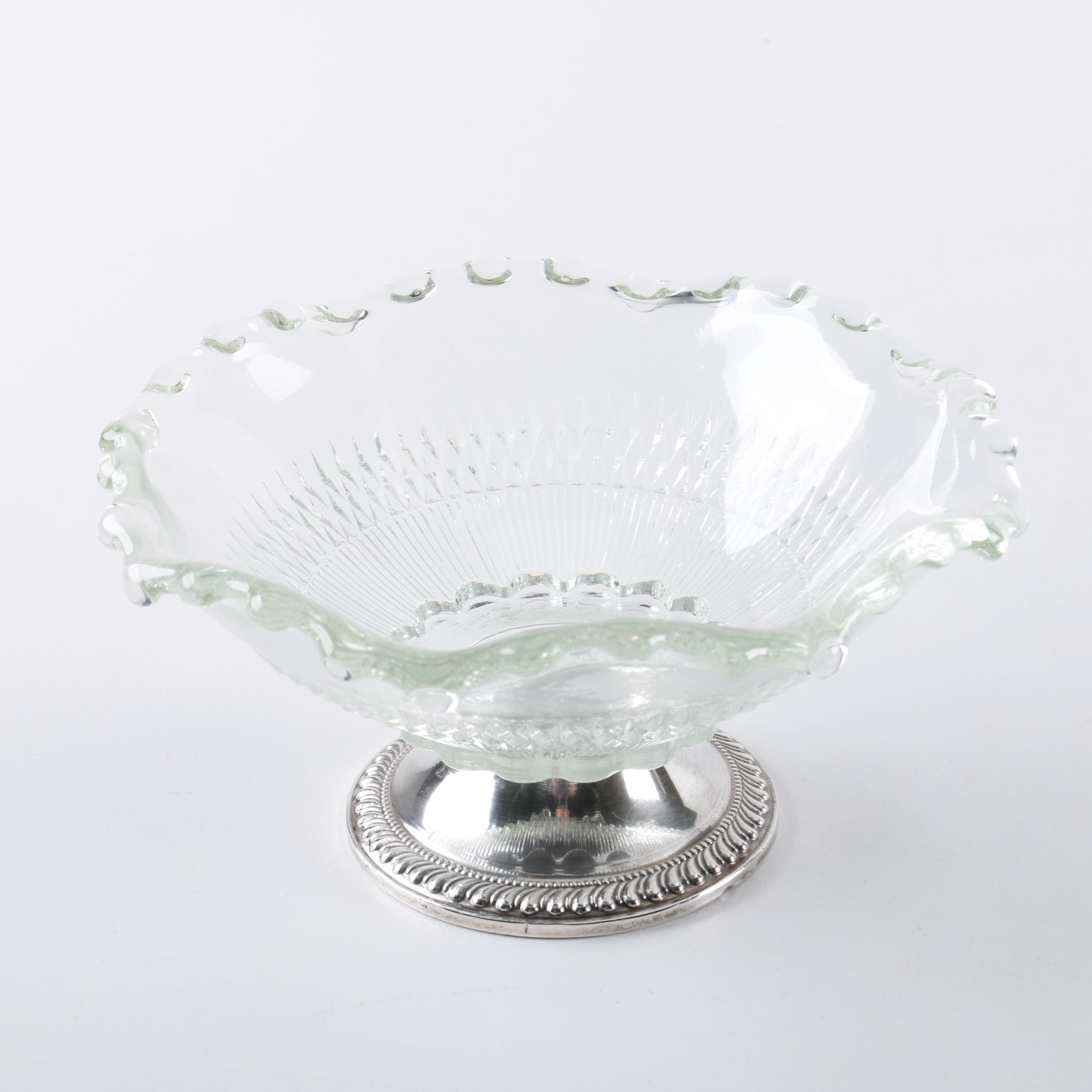 Duchin Creation Glass Bowl with Weighted Sterling Base