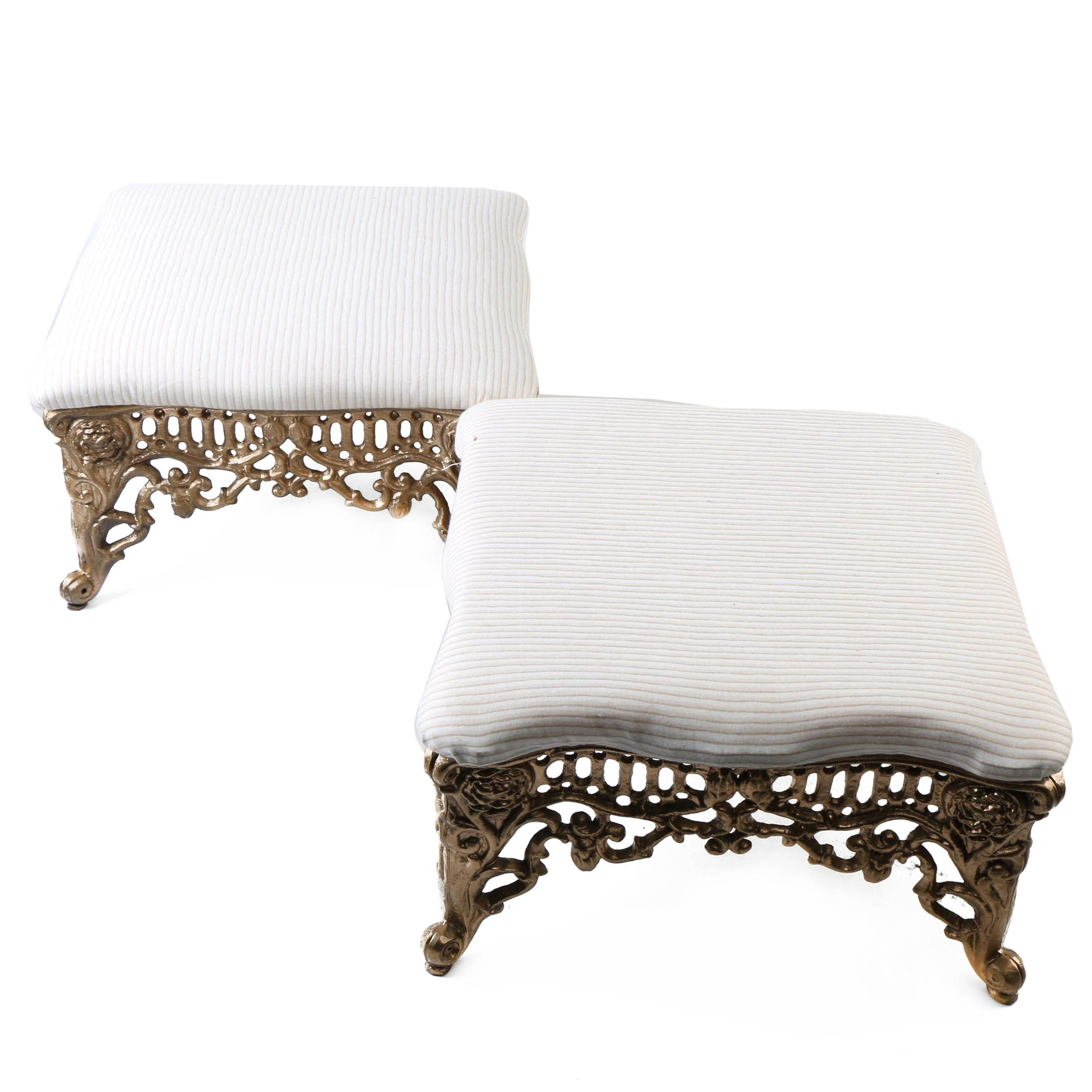 Pair of Cast Iron Gothic Style Footstools