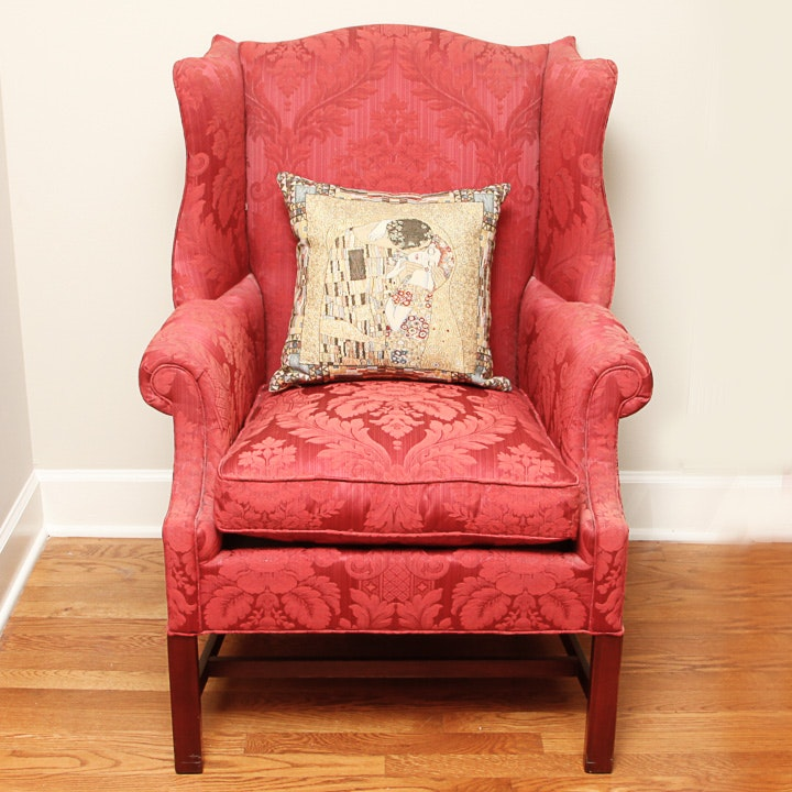 Vintage Chippendale Style Wingback Chair By Hickory Chair ...