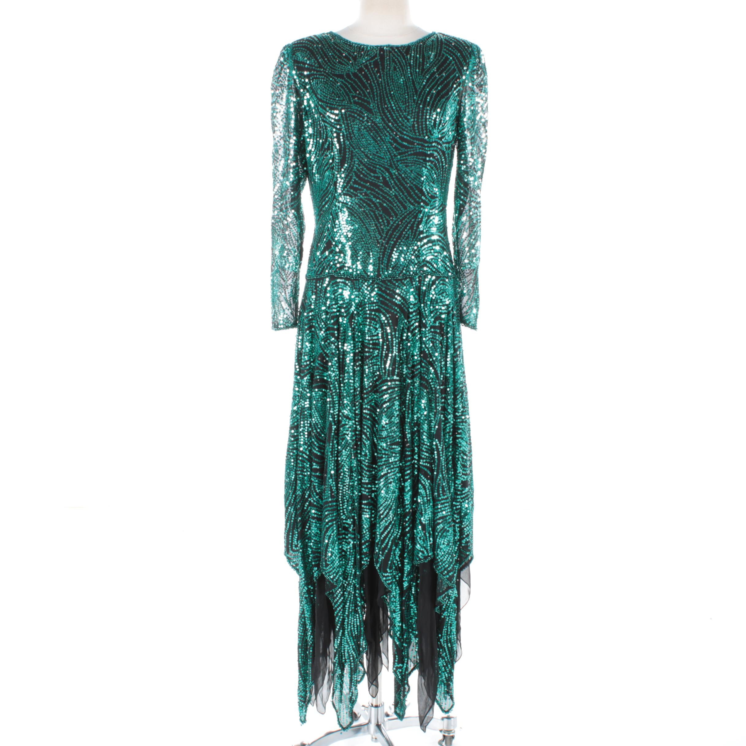 Vintage Lillie Rubin Green Sequin Gown