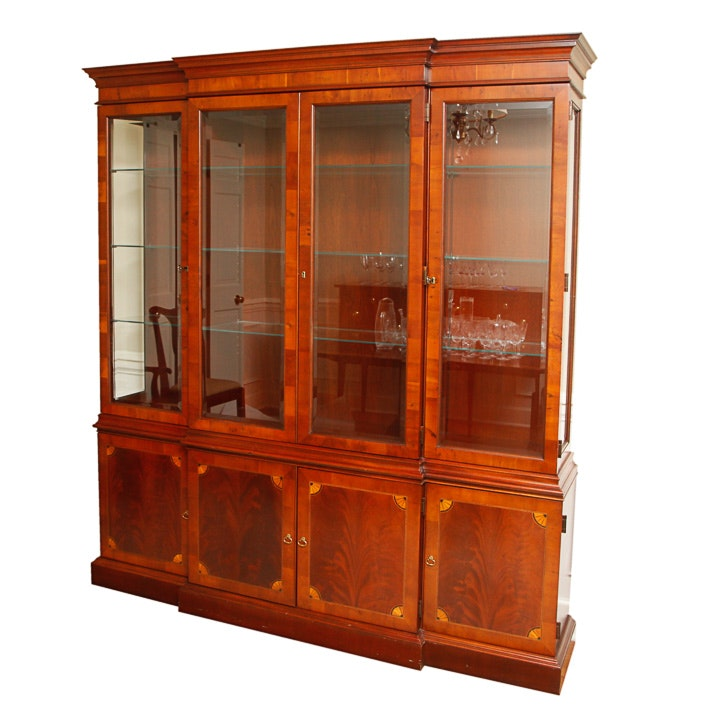 Vintage Federal Style Breakfront China Cabinet by Hekman