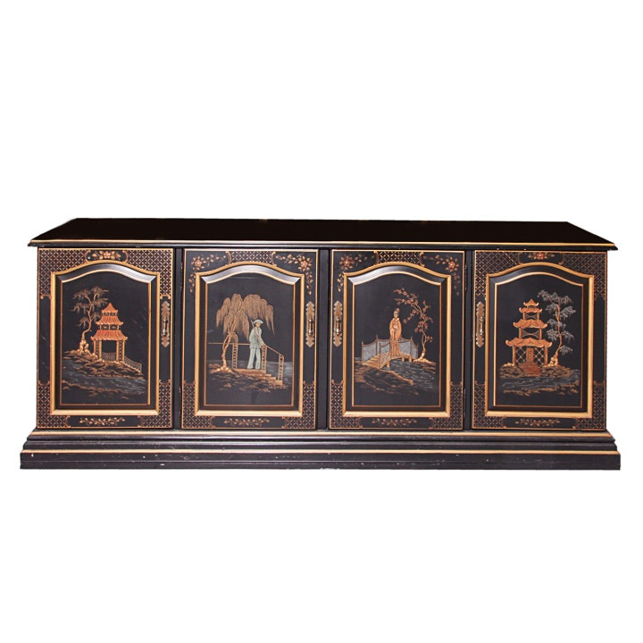 Black Lacquer Chinoiserie Media Cabinet by Habersham Furniture