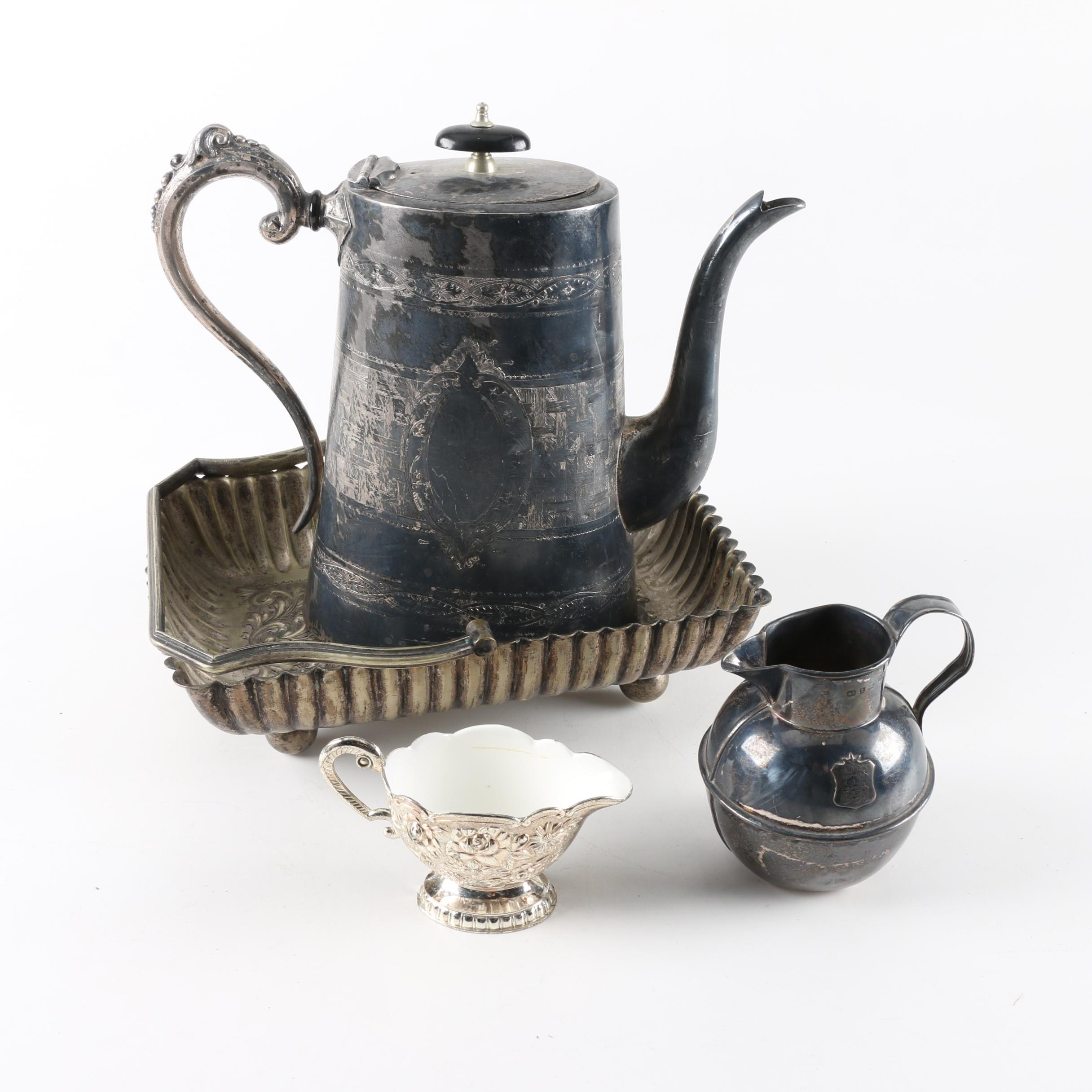 1899 Birmingham Sterling Silver Creamer and Assorted Silver Plate Serveware