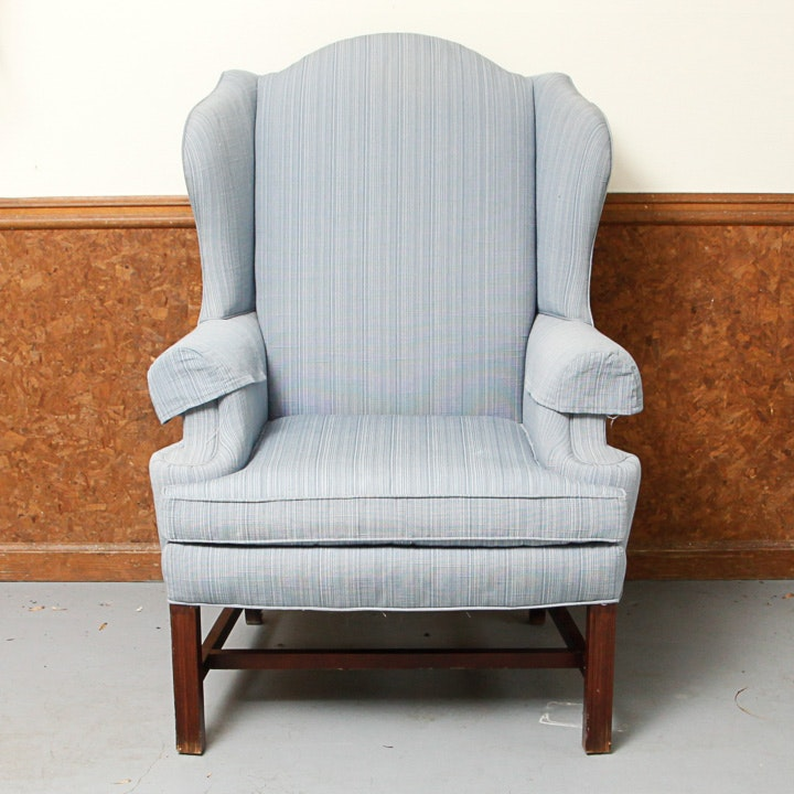 Vintage Chippendale Style Upholstered Wingback Chair by Sherrill Furniture