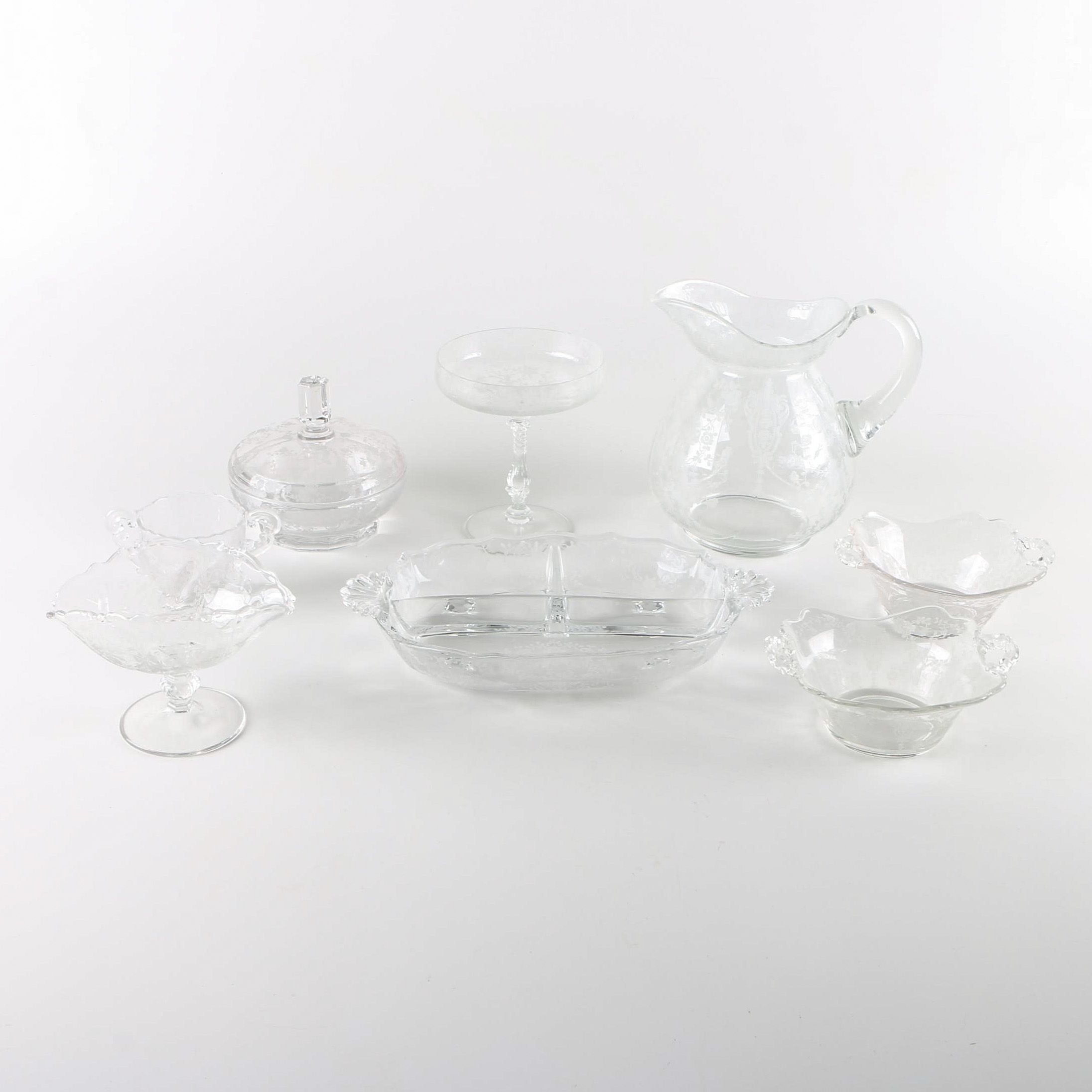 """Cambridge """"Rose Point Clear"""" and Other Glass Tableware"""