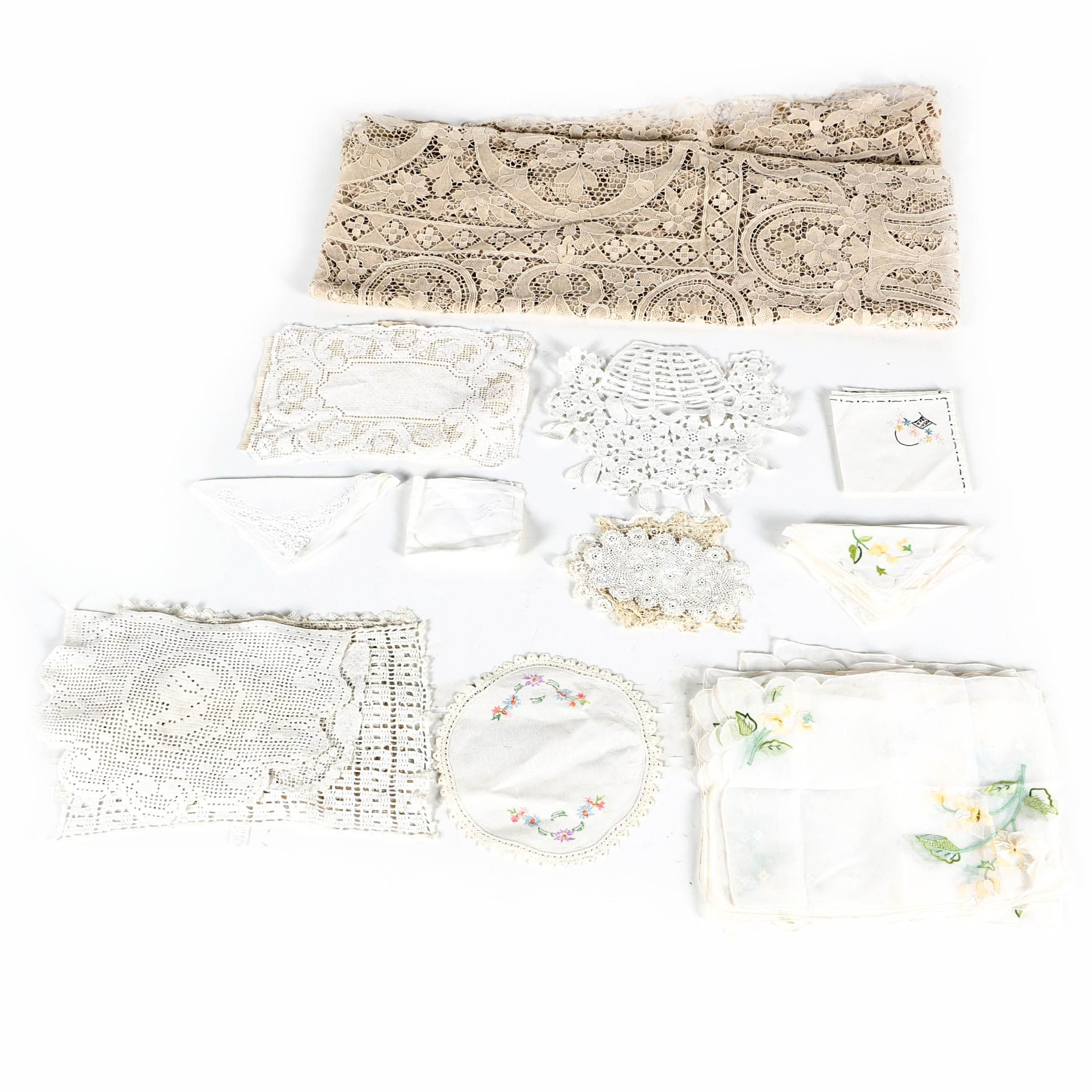 Vintage Embroidered and Lace Table Linens