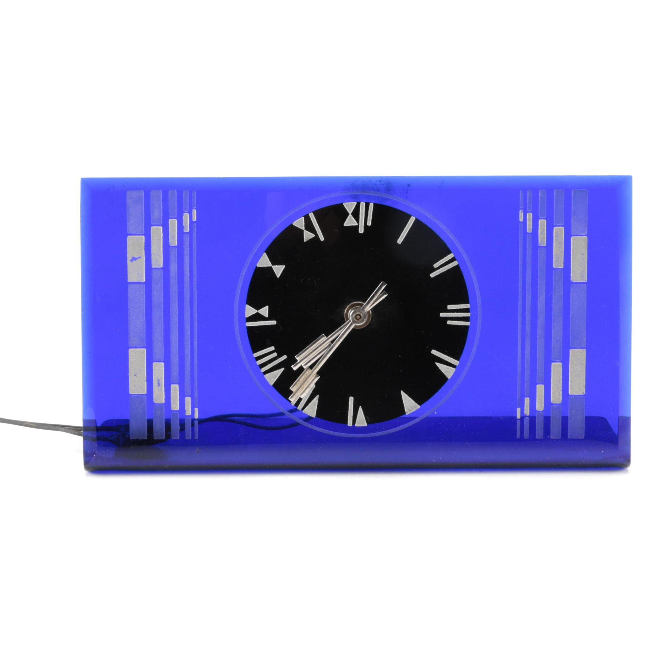 Vintage Synchron Art Deco Style Glass Mantel Clock