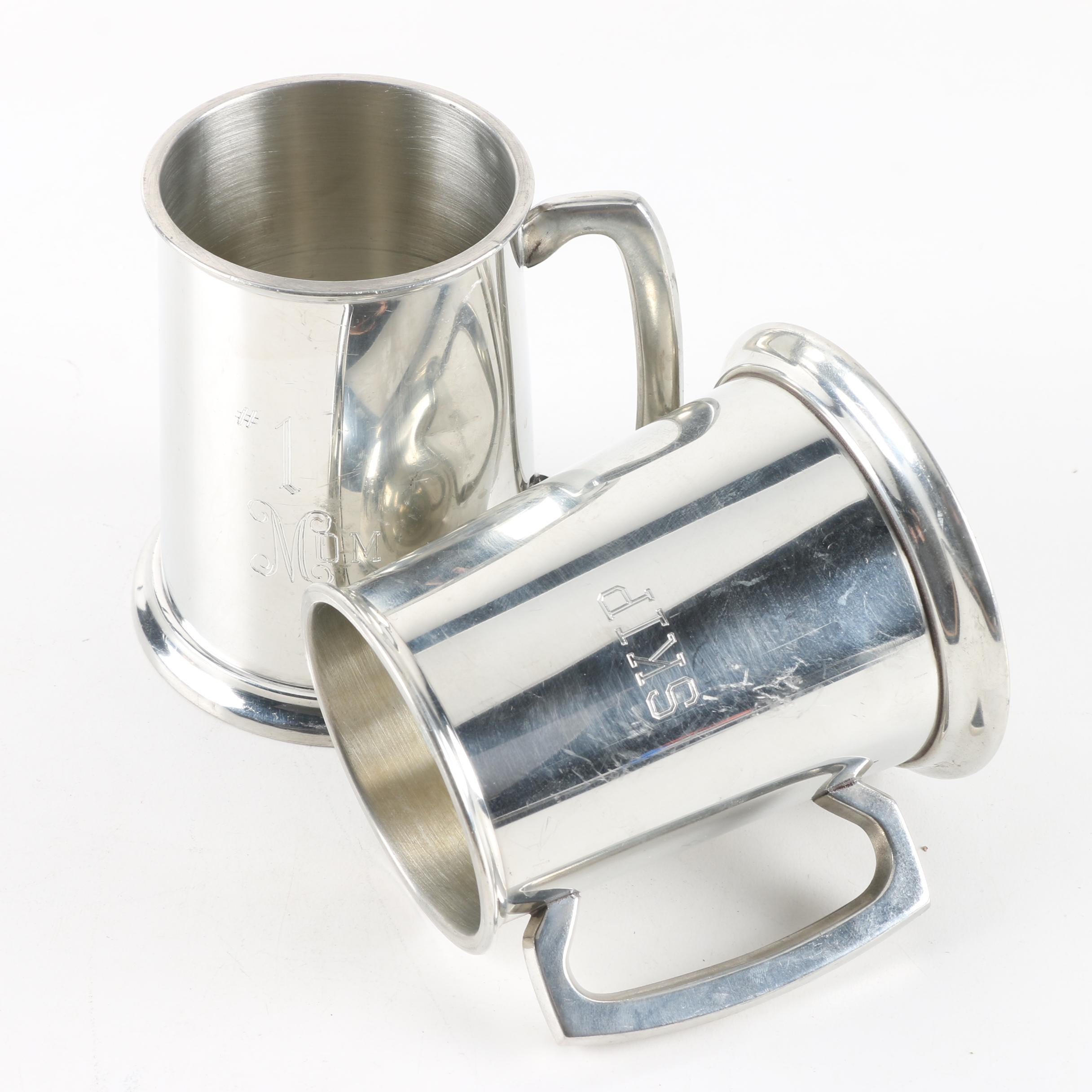 Vintage Glass-Bottomed English Pewter Steins, Including Eales of Sheffield