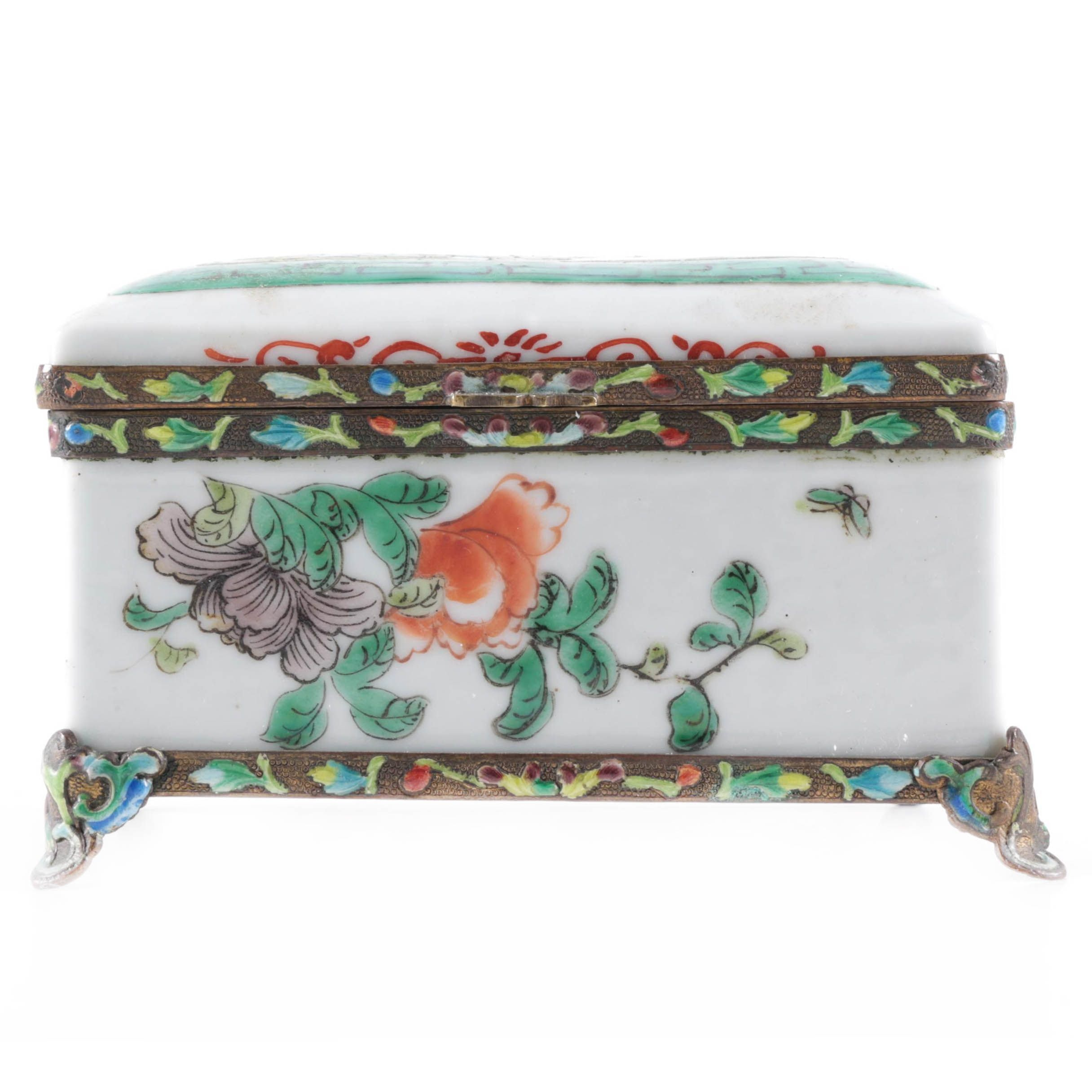 Chinese Porcelain and Metal Lidded Box