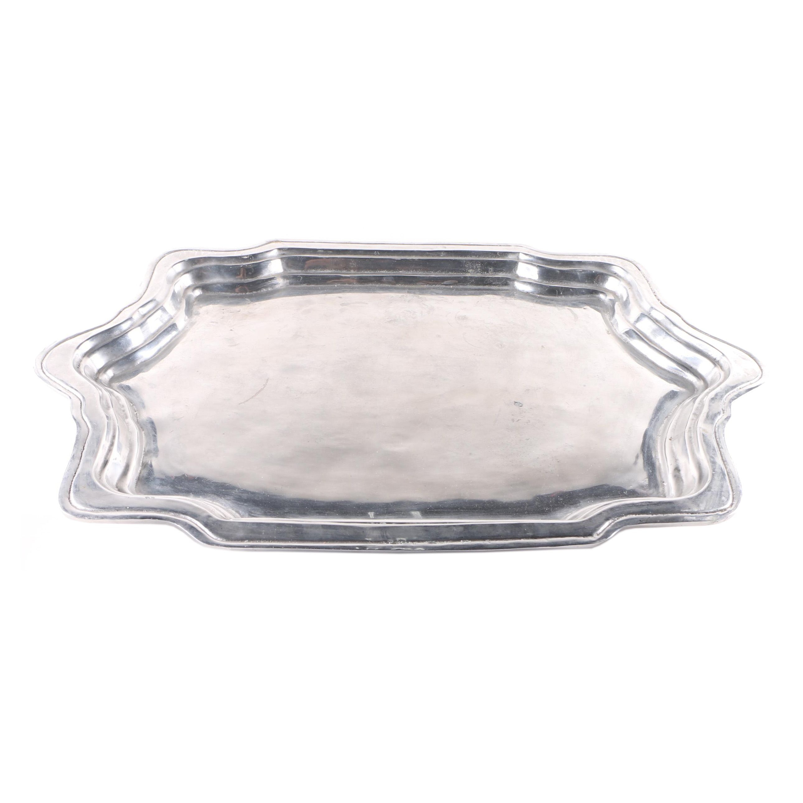 Silver Tone Metal Serving Tray