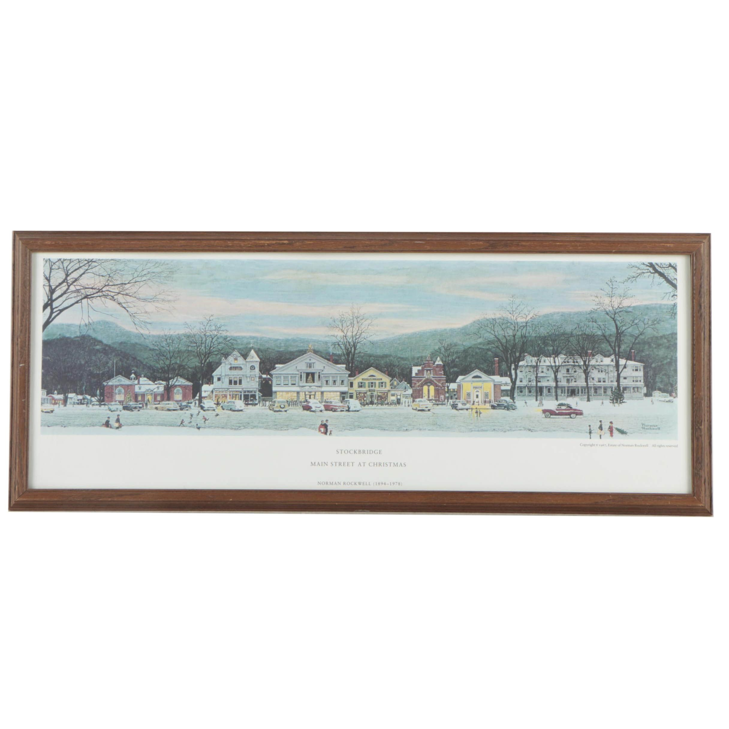 "Offset Lithograph After Norman Rockwell ""Stockbridge Main Street At Christmas"""