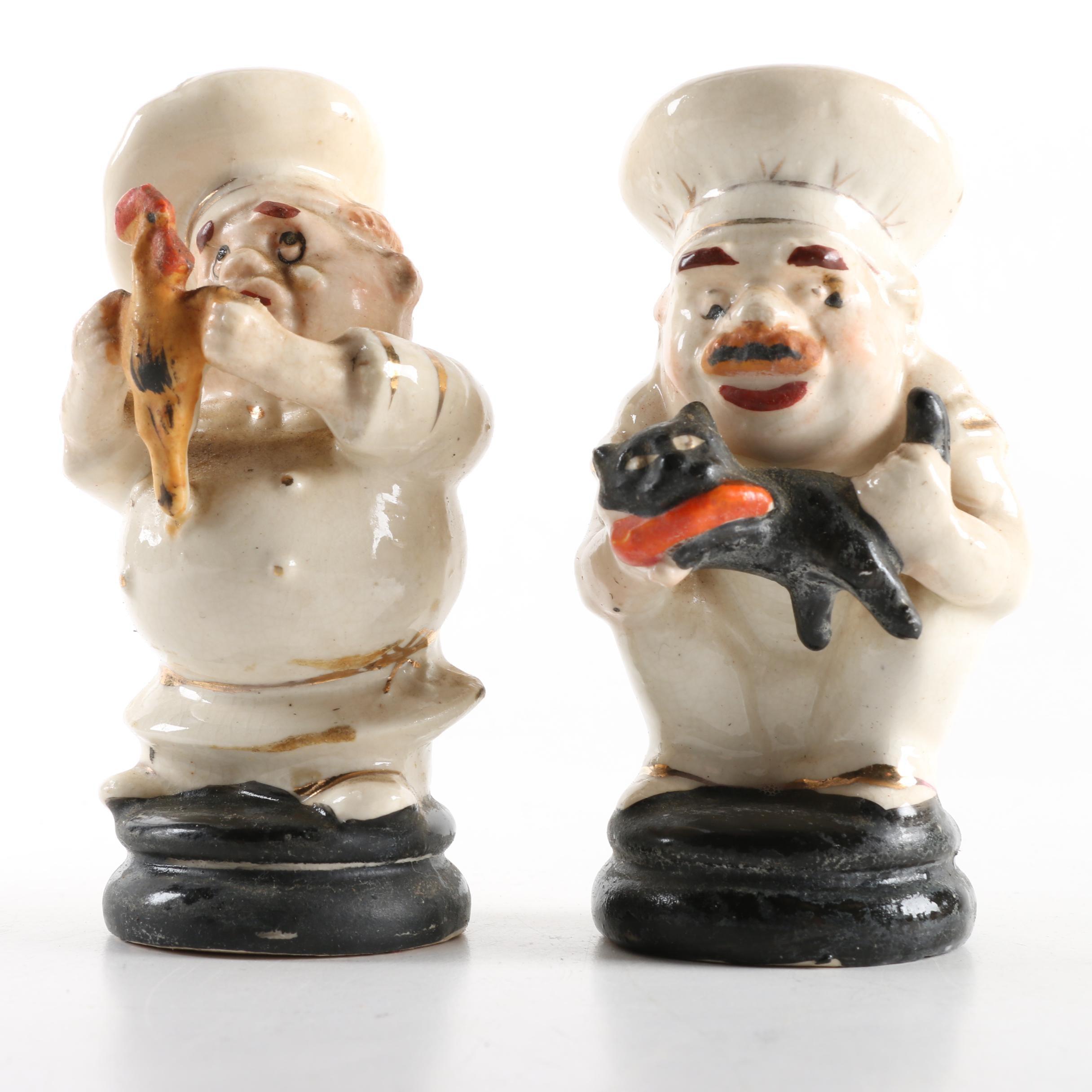 Pair of Ceramic Chef Salt and Pepper Shakers