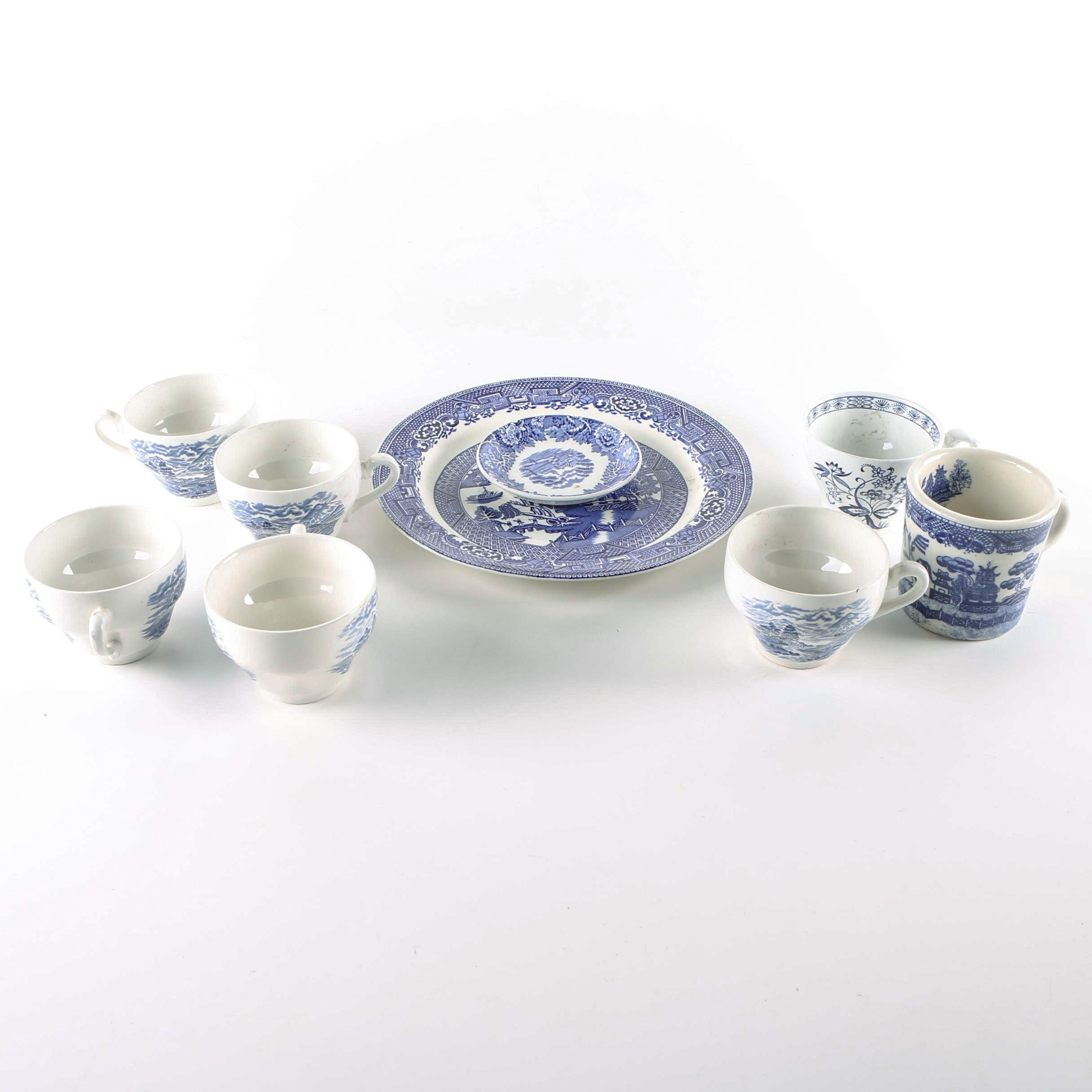 """Vintage English Tableware Including Wood and Sons """"Willow"""""""
