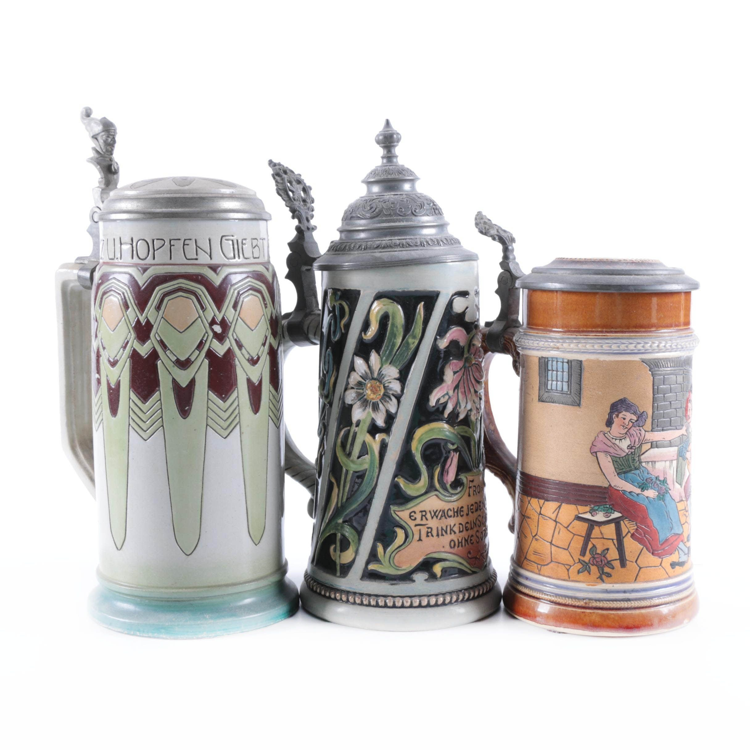 Vintage German Beer Steins, Including Merkelbach & Wick