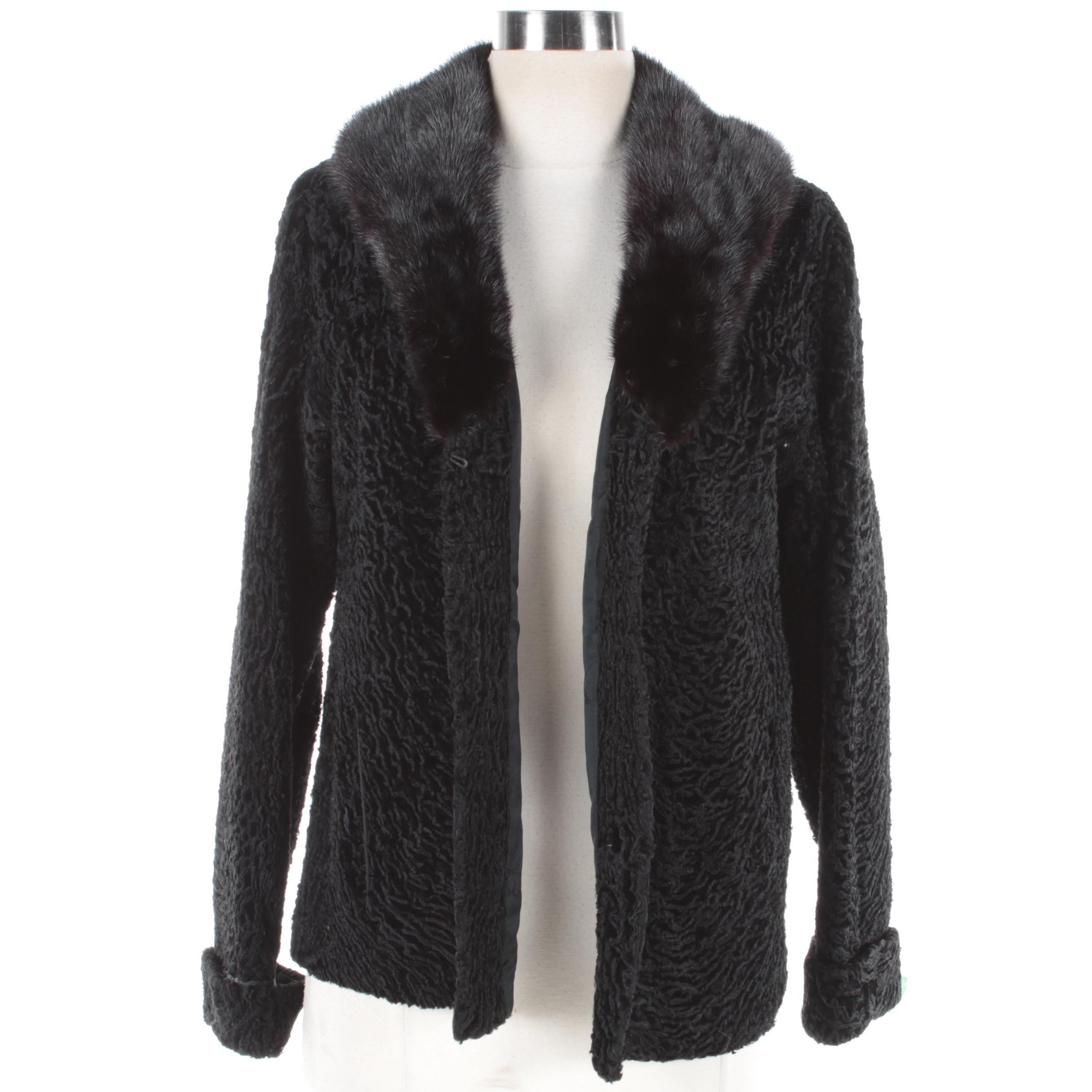 Women's Vintage Black Persian Lamb Fur Coat with Mink Fur Collar