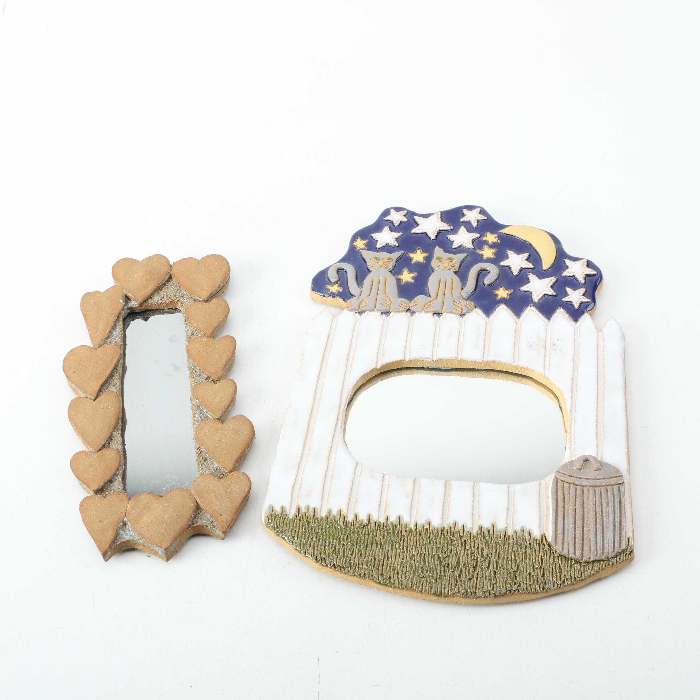 Folk Art Ceramic Framed Wall Mirrors