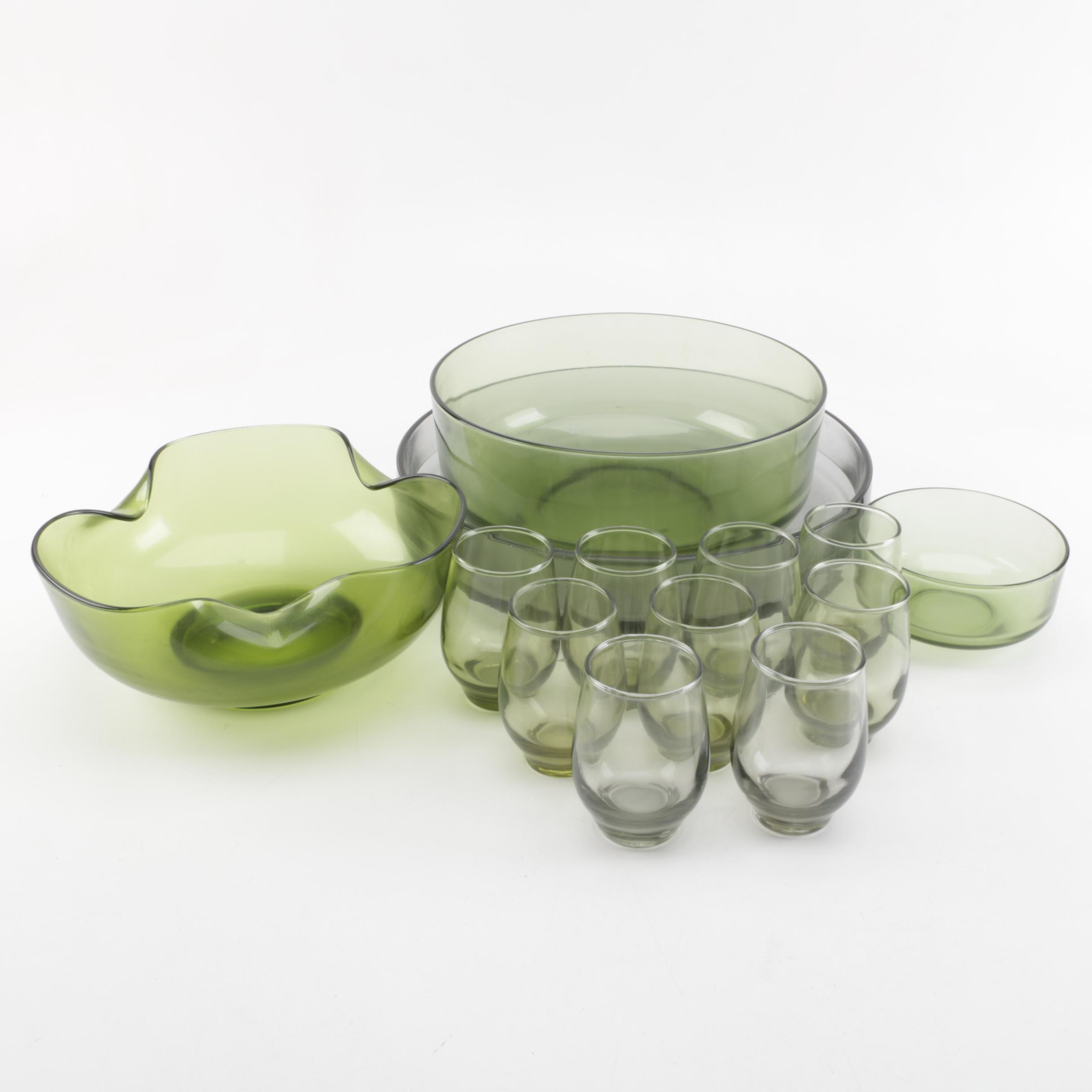 """Libbey """"Tempo"""" Tumblers and Green Serving Bowls"""