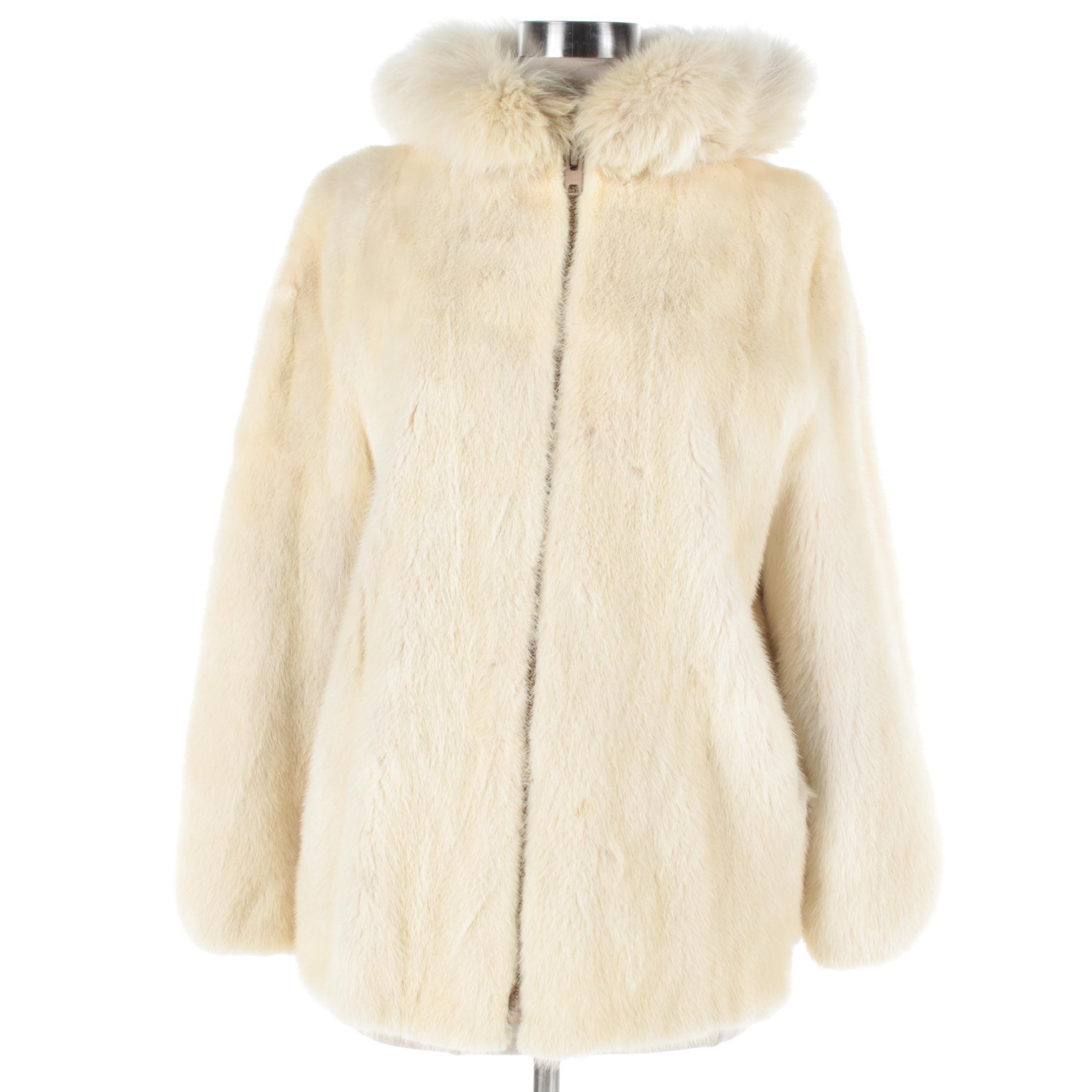 Women's Vintage Platinum Mink Fur Jacket with Fox Fur Trim