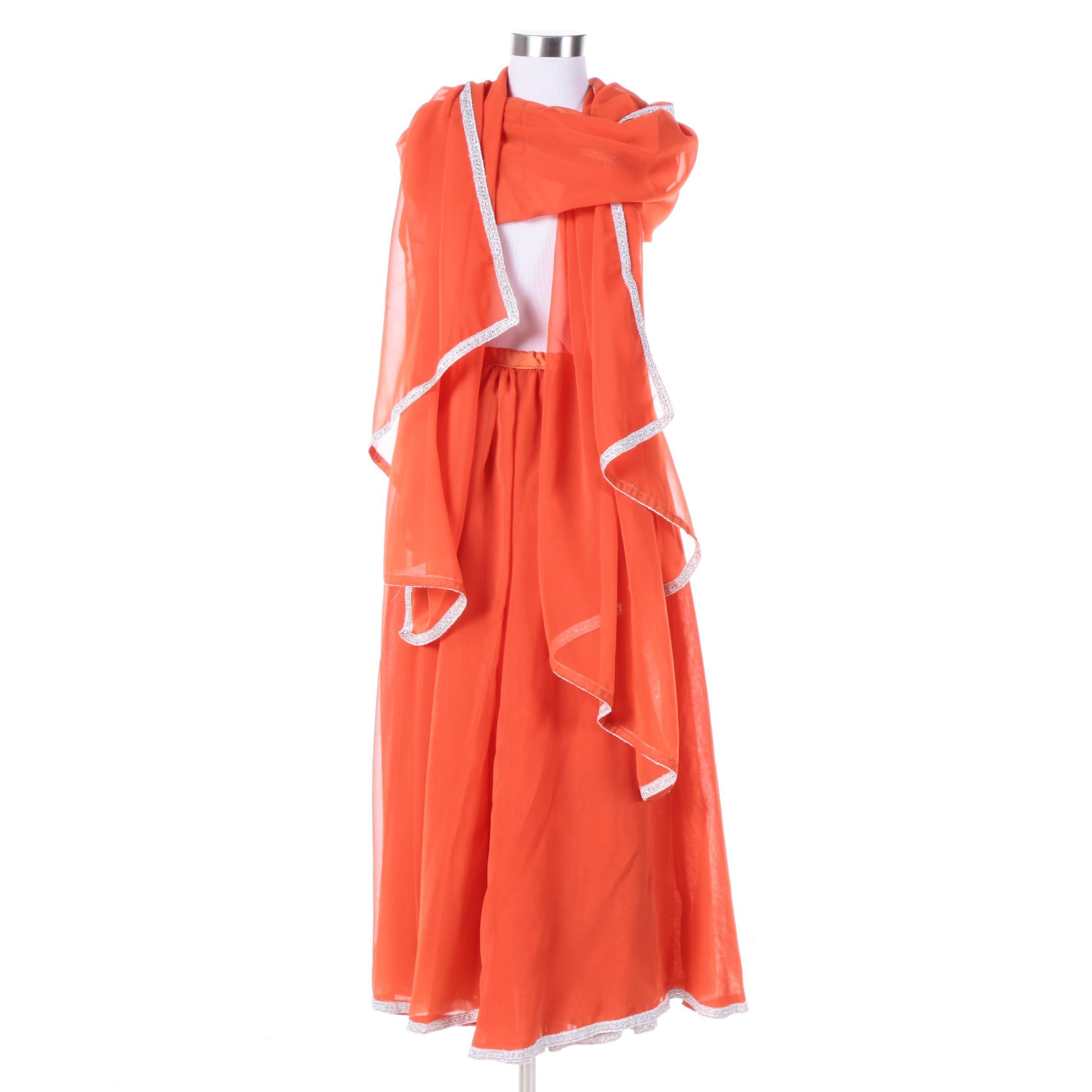 Orange Sheer Wrap Skirt and Matching Shawl