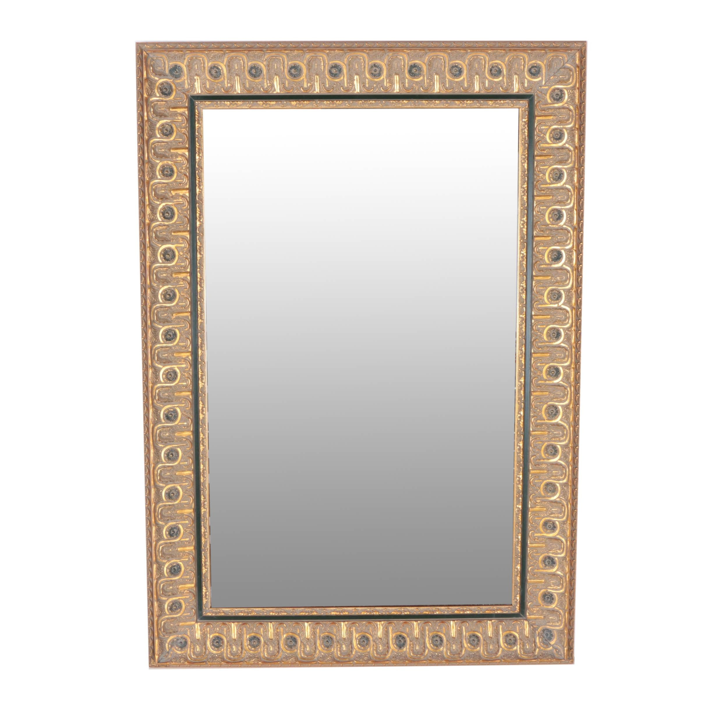 Gold-Tone with Green Accents Wall Mirror