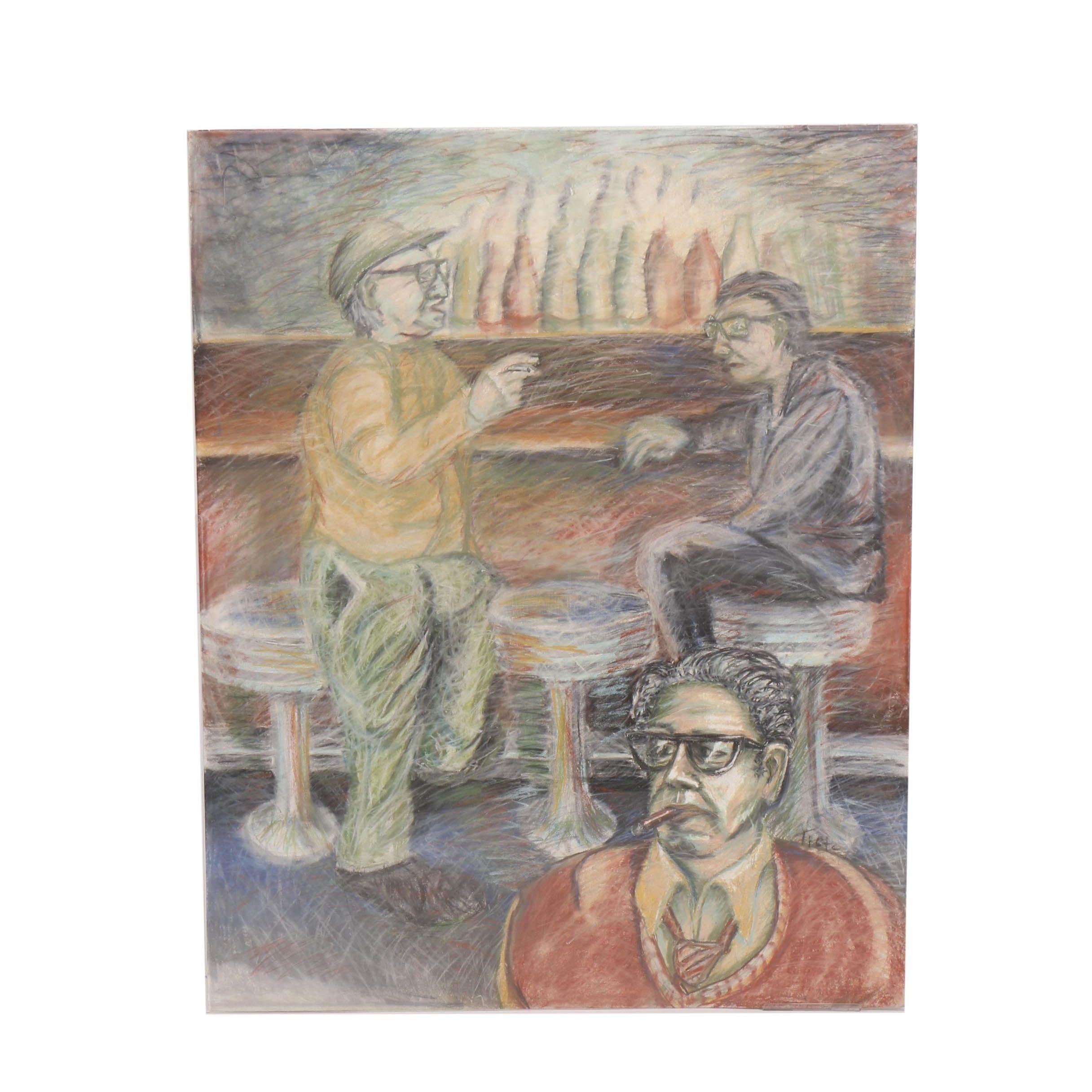 Pastel Drawing of Men at a Bar