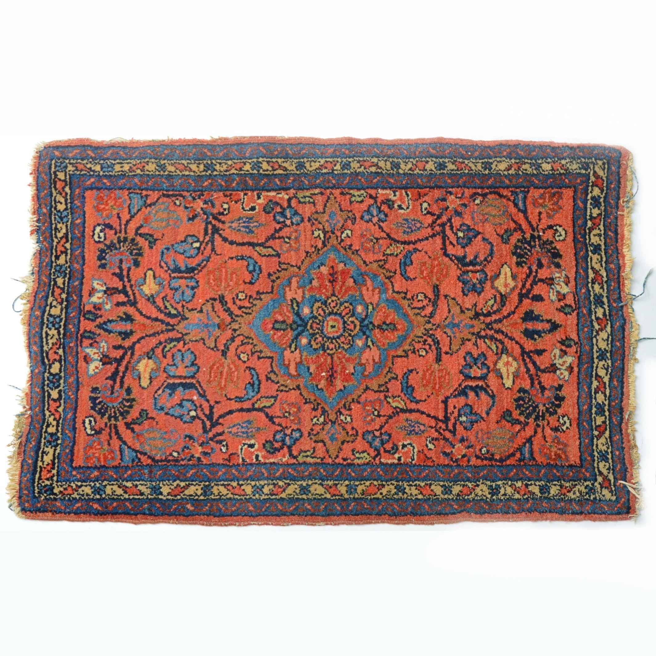 Semi-Antique Hand Knotted Sarouk Wool Accent Rug