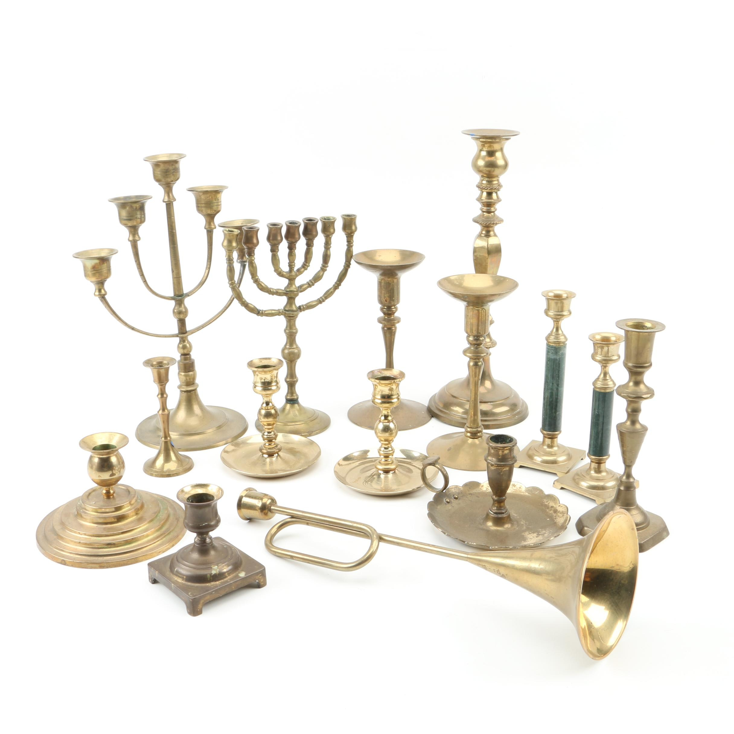 Brass Menorah, Candelabra and Candlesticks