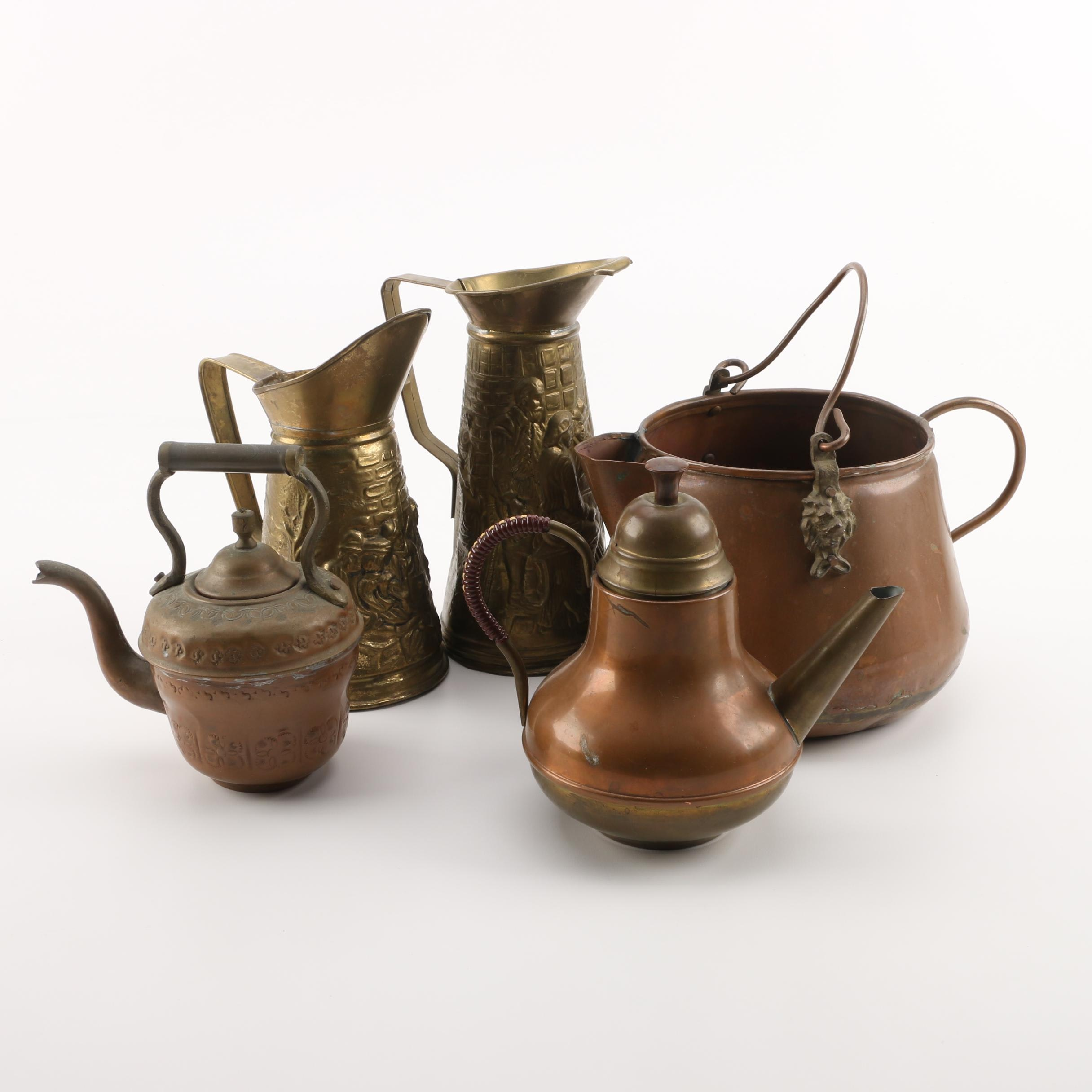 Vintage and Antique Brass and Copper Teapots and Ewers