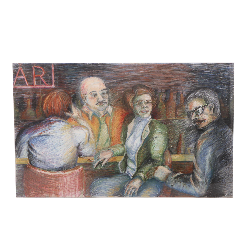 Tietz Pastel Drawing of Customers at a Bar