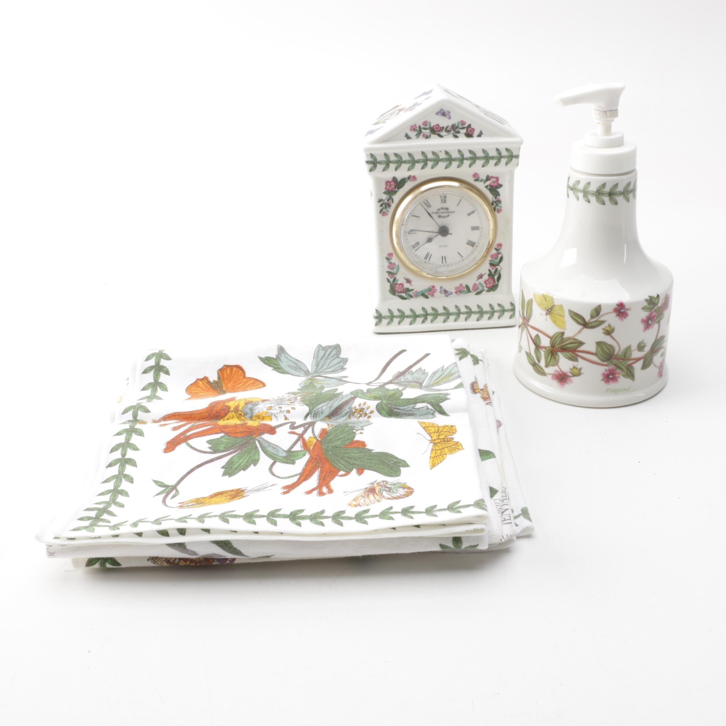 """Portmeirion """"Botanic Garden"""" Kitchen Accessories and Clock"""