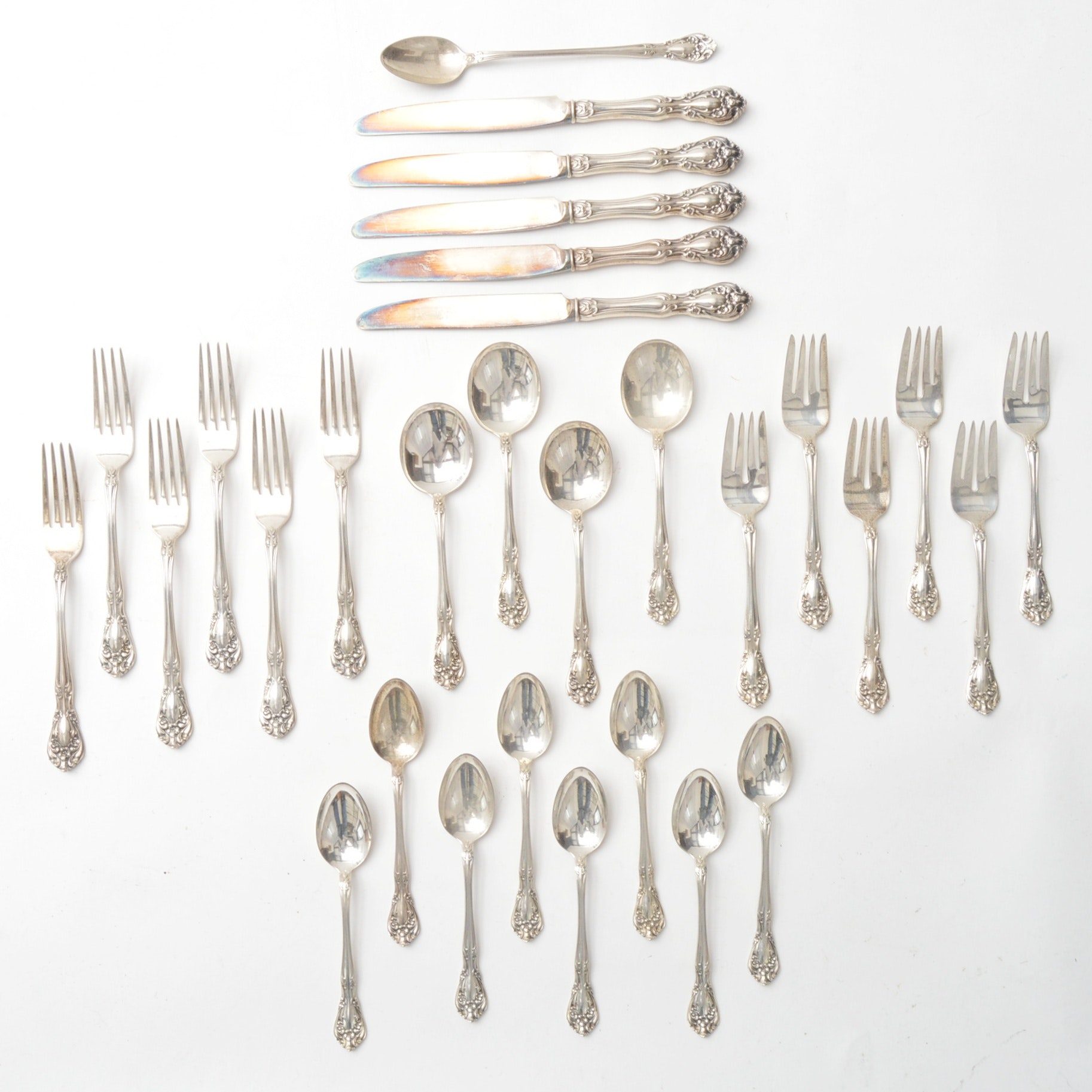"""Set of Alvin """"Chateau Rose"""" Sterling Silver Flatware"""