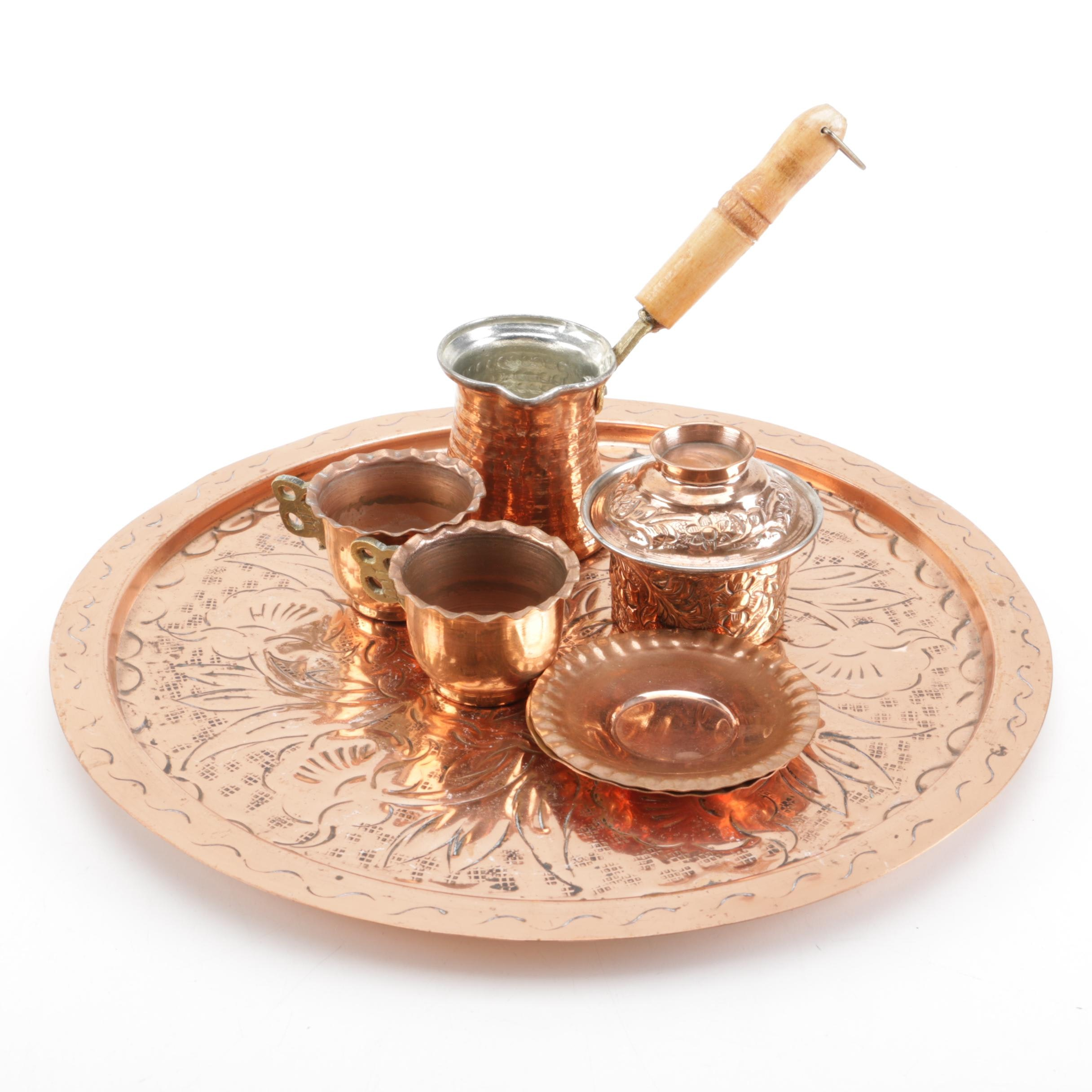 Copper Serving Tray and Hollowware