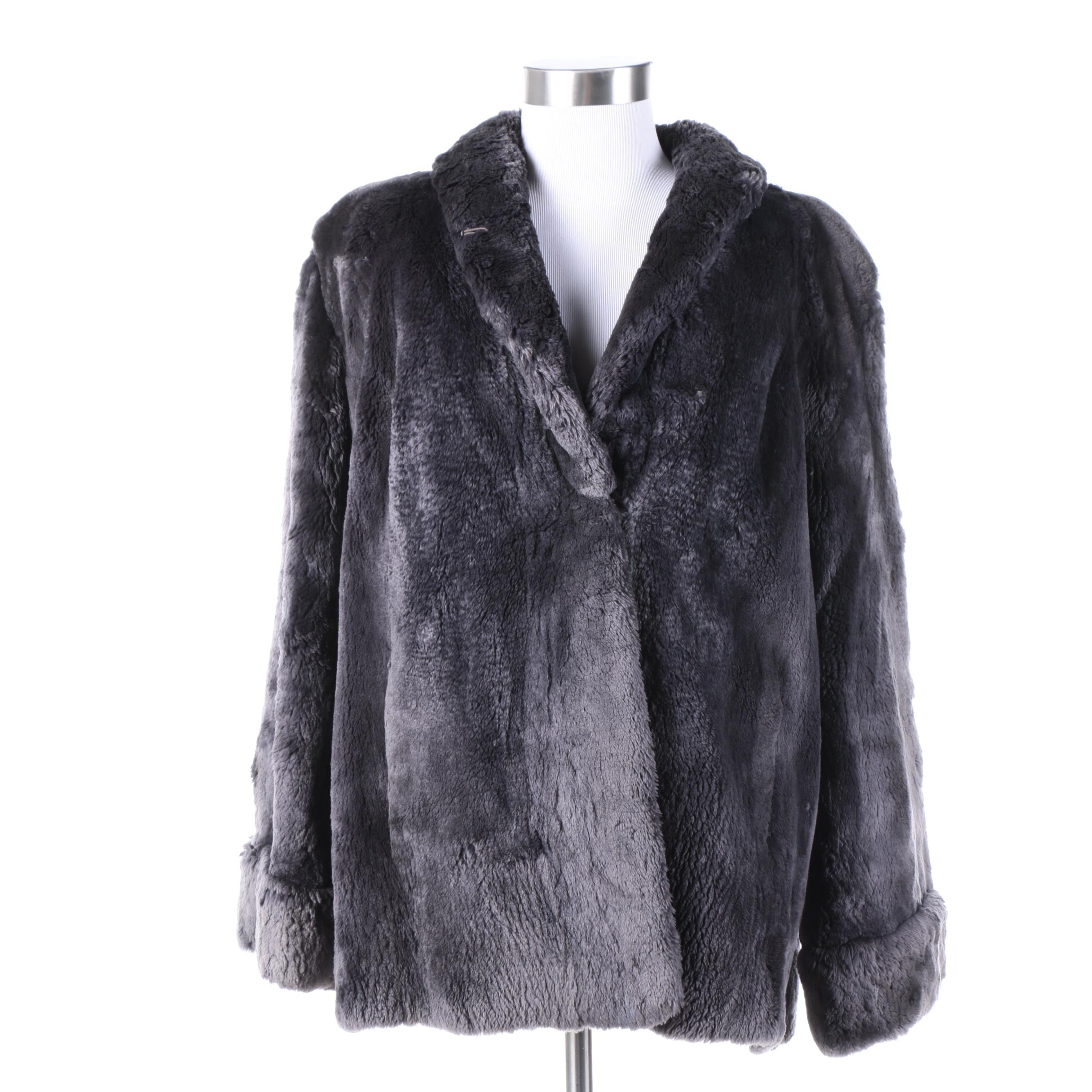 Vintage Duplers Furs Dyed Gray Sheared Beaver Fur Coat