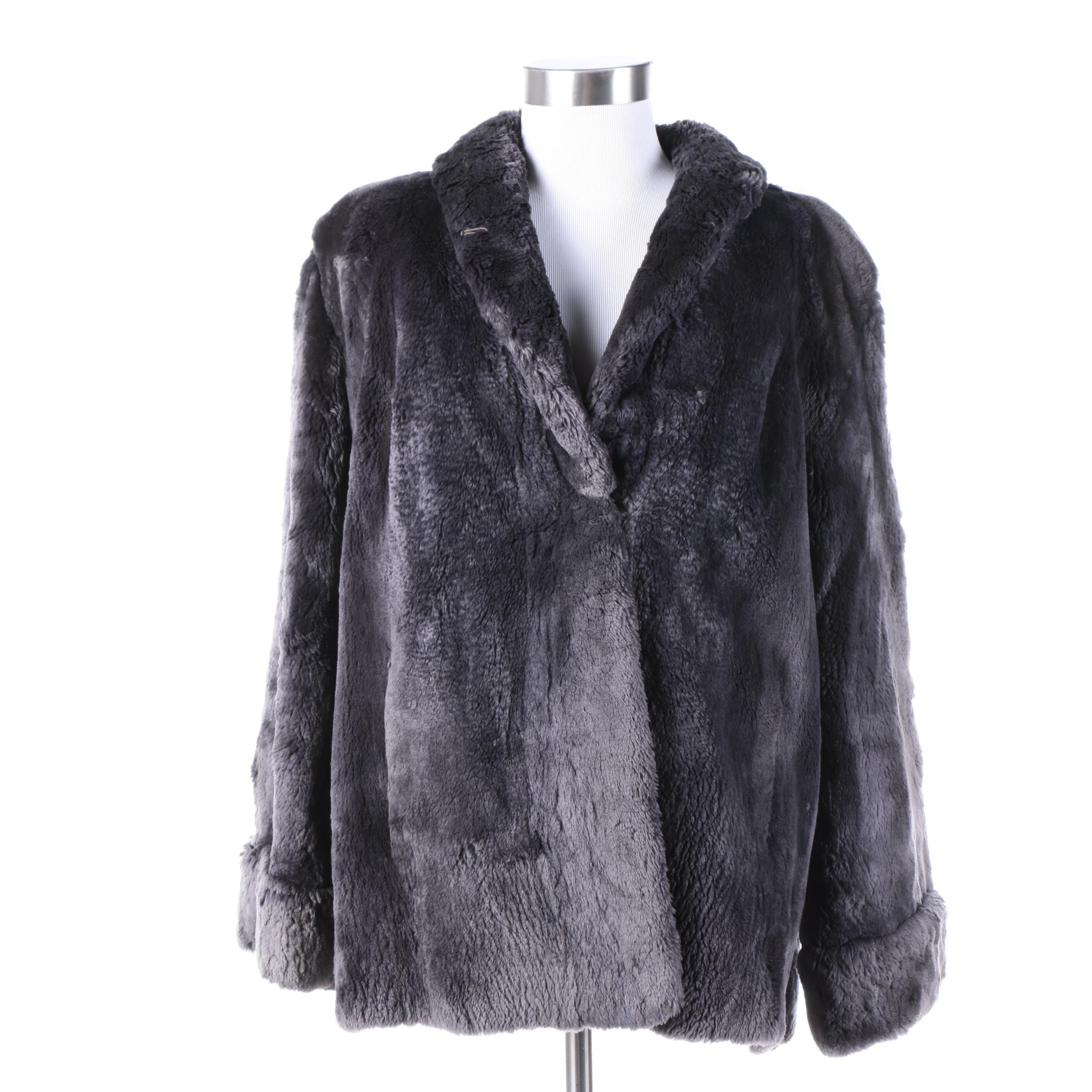 Vintage Duplers Furs Dyed Gray Sheared Beaver Fur Coat