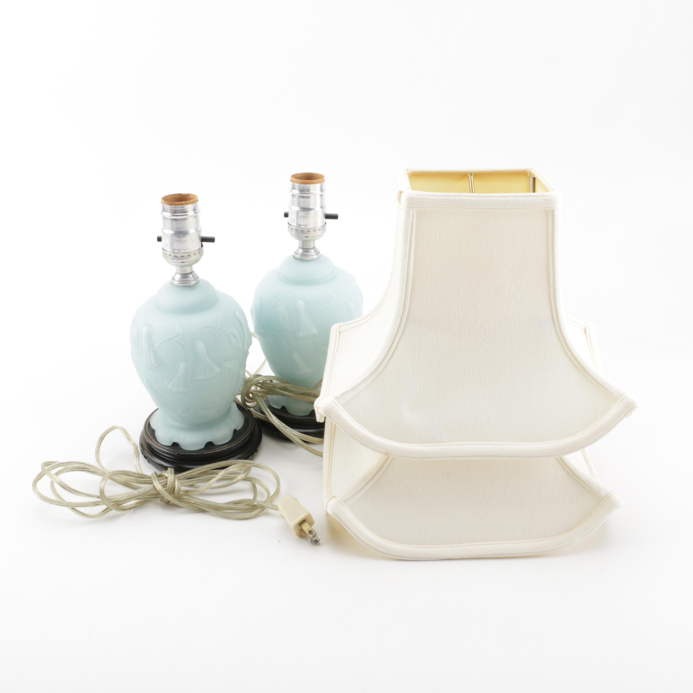 Pair of Vintage Blue Opaque Glass Table Lamps