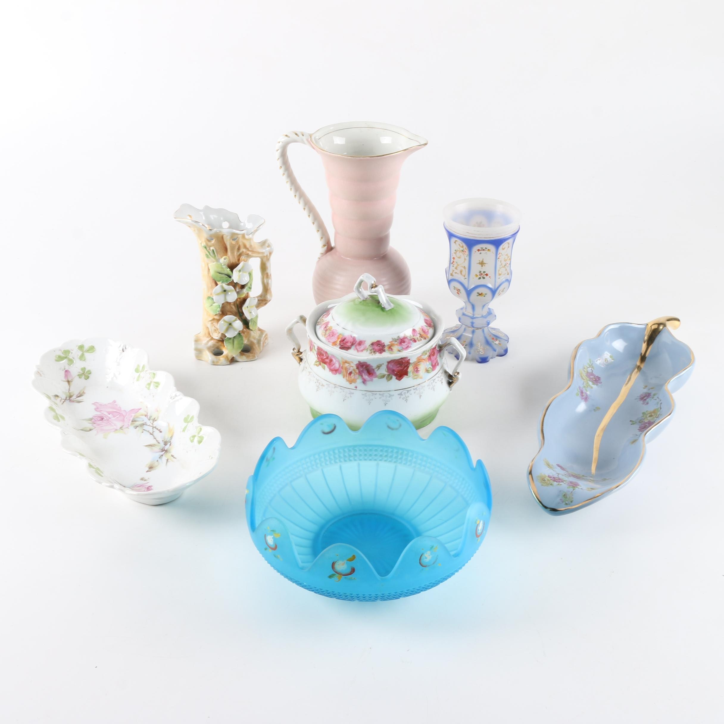Ceramic Floral Serving Dishes and Pitchers