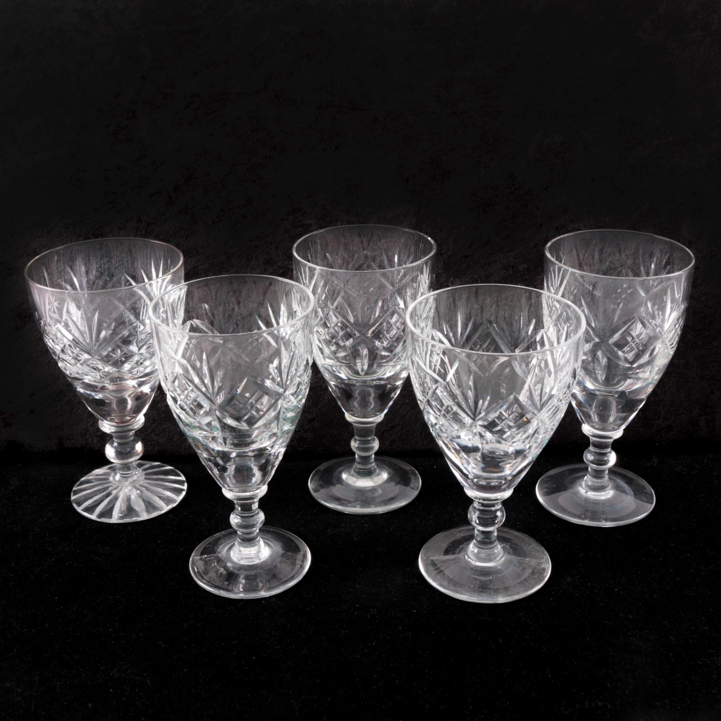 English Hand-Cut Cordial Glasses including Webb Corbett