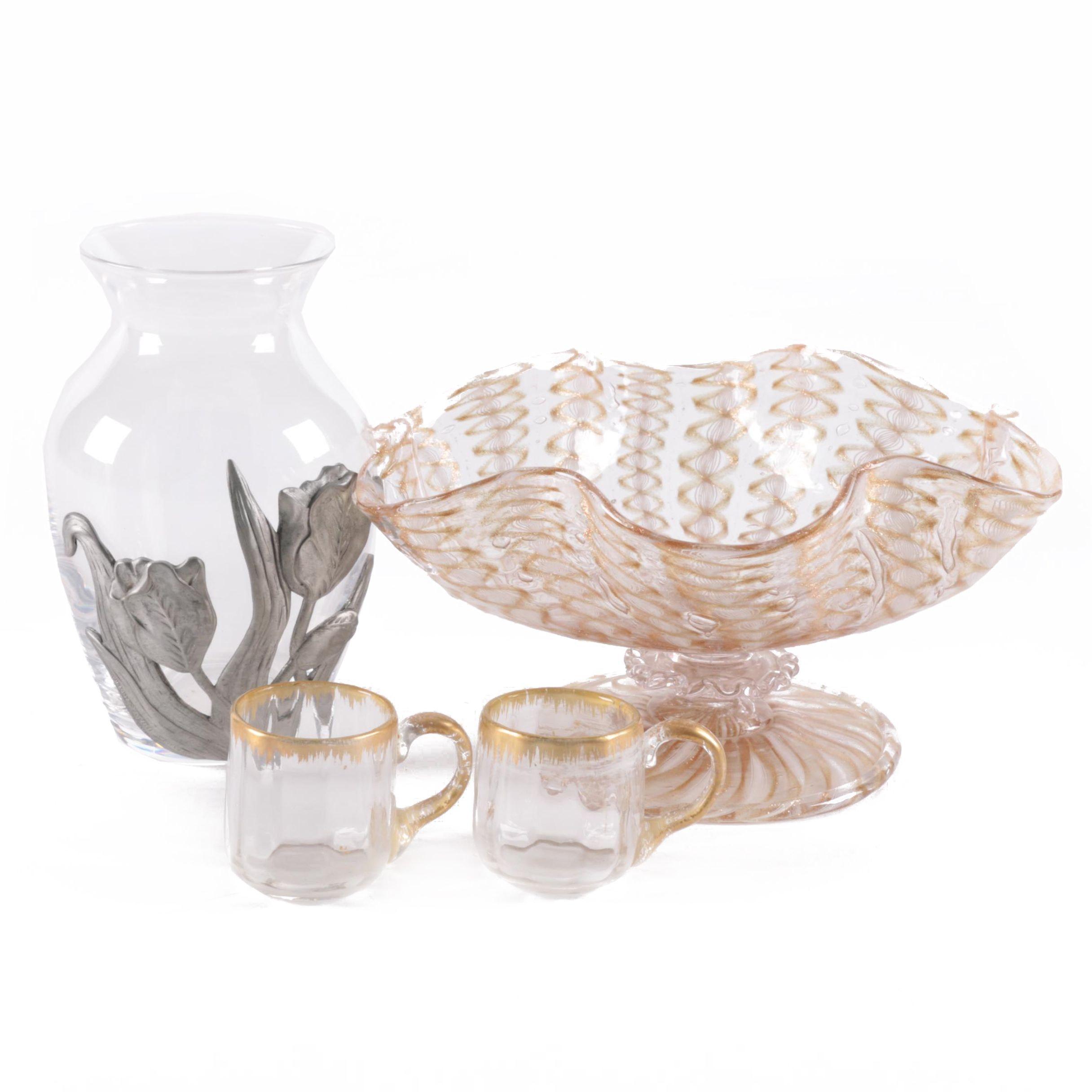 Murano Style Vetro a Filigrana Compote and Other Glassware