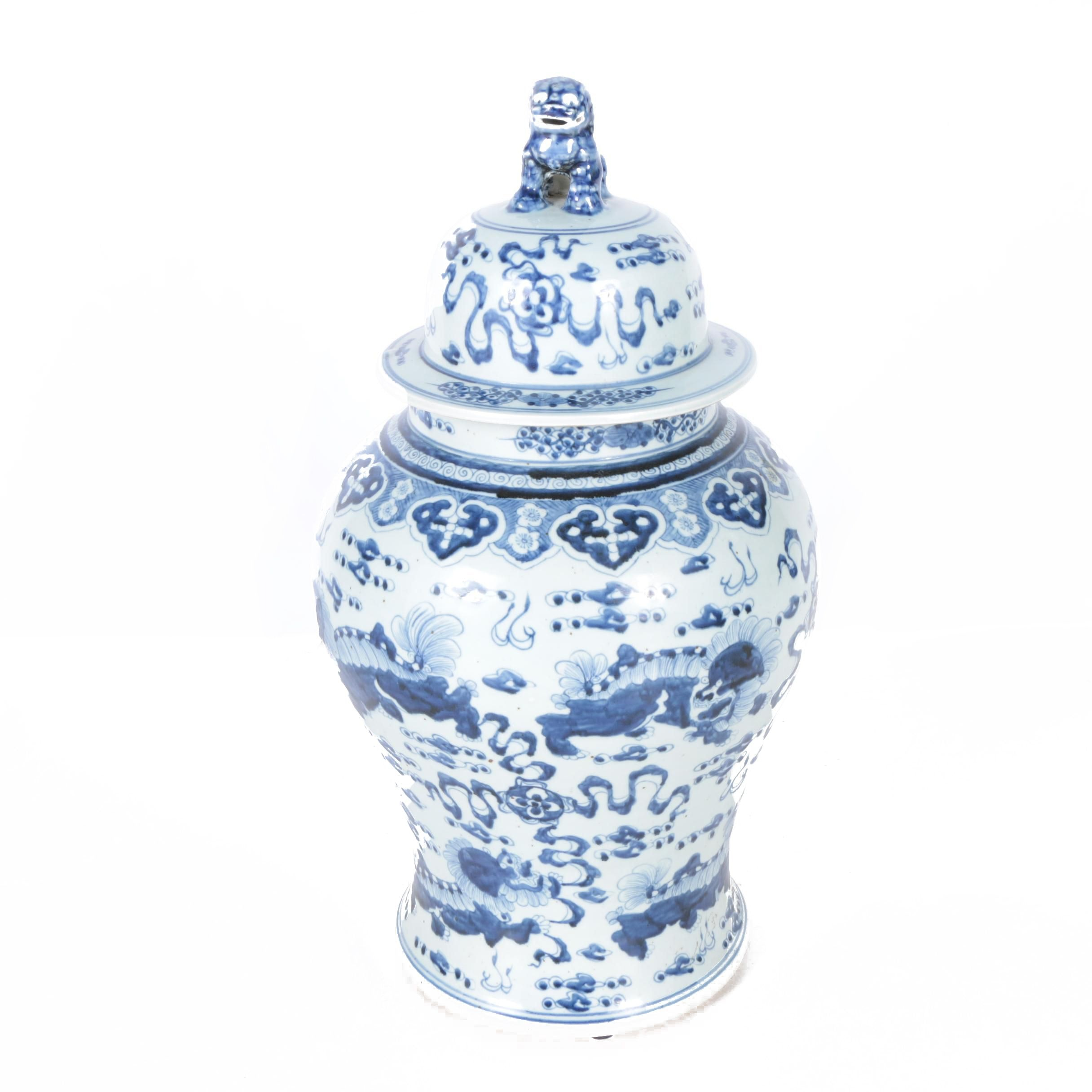 Chinese Ginger Jar with Lion Handled Lid