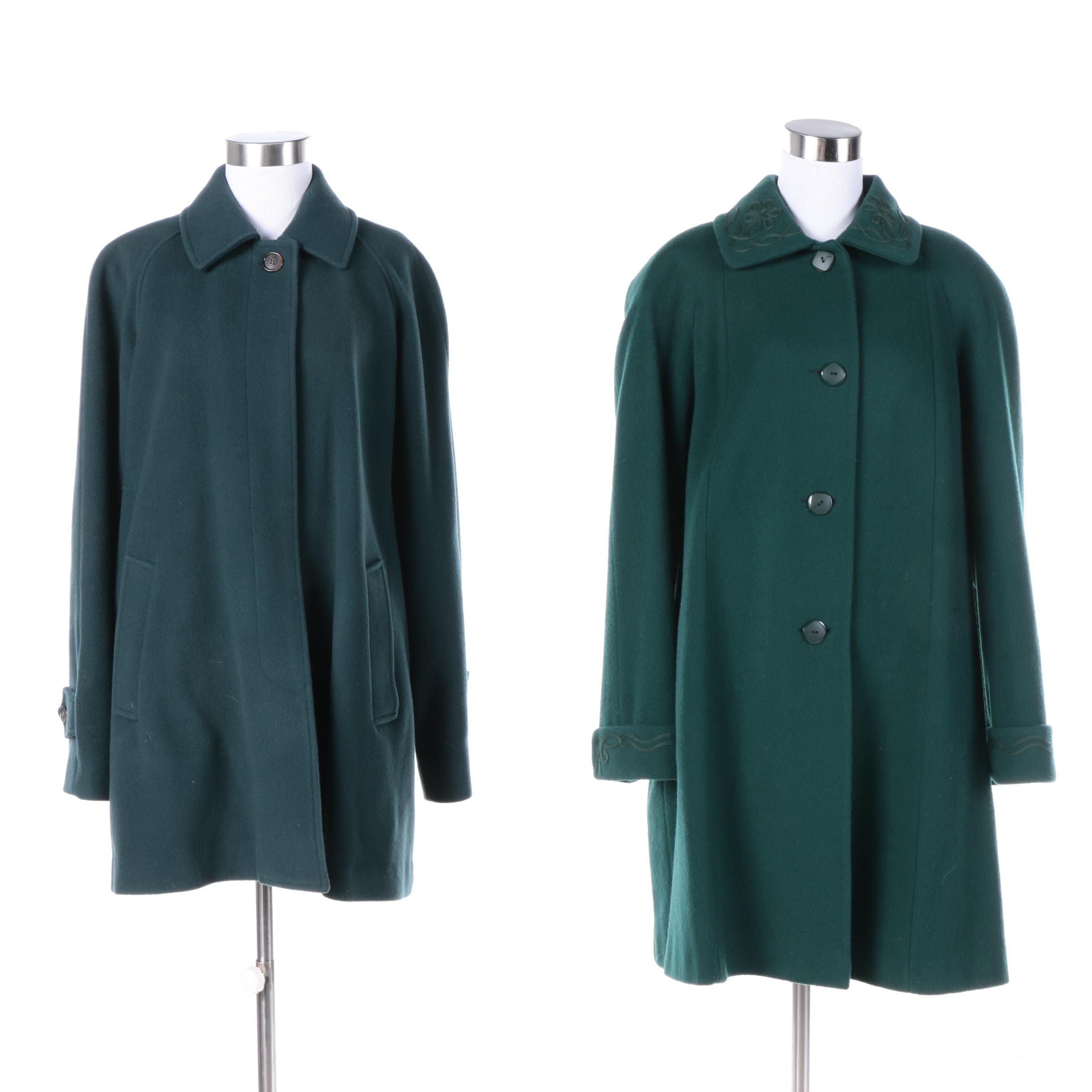 Women's Vintage Green Wool Blend Coats Including London Fog and Alorna