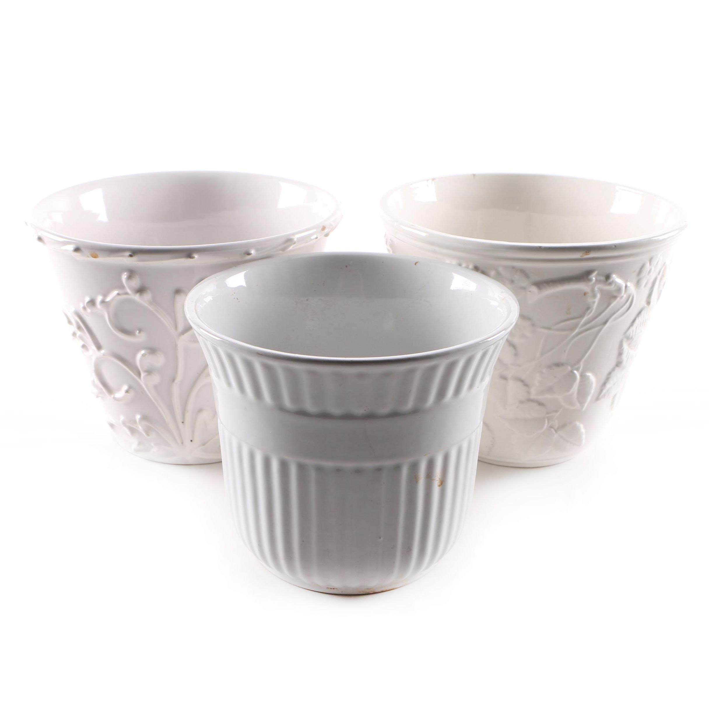 German and Italian White Ceramic Planters