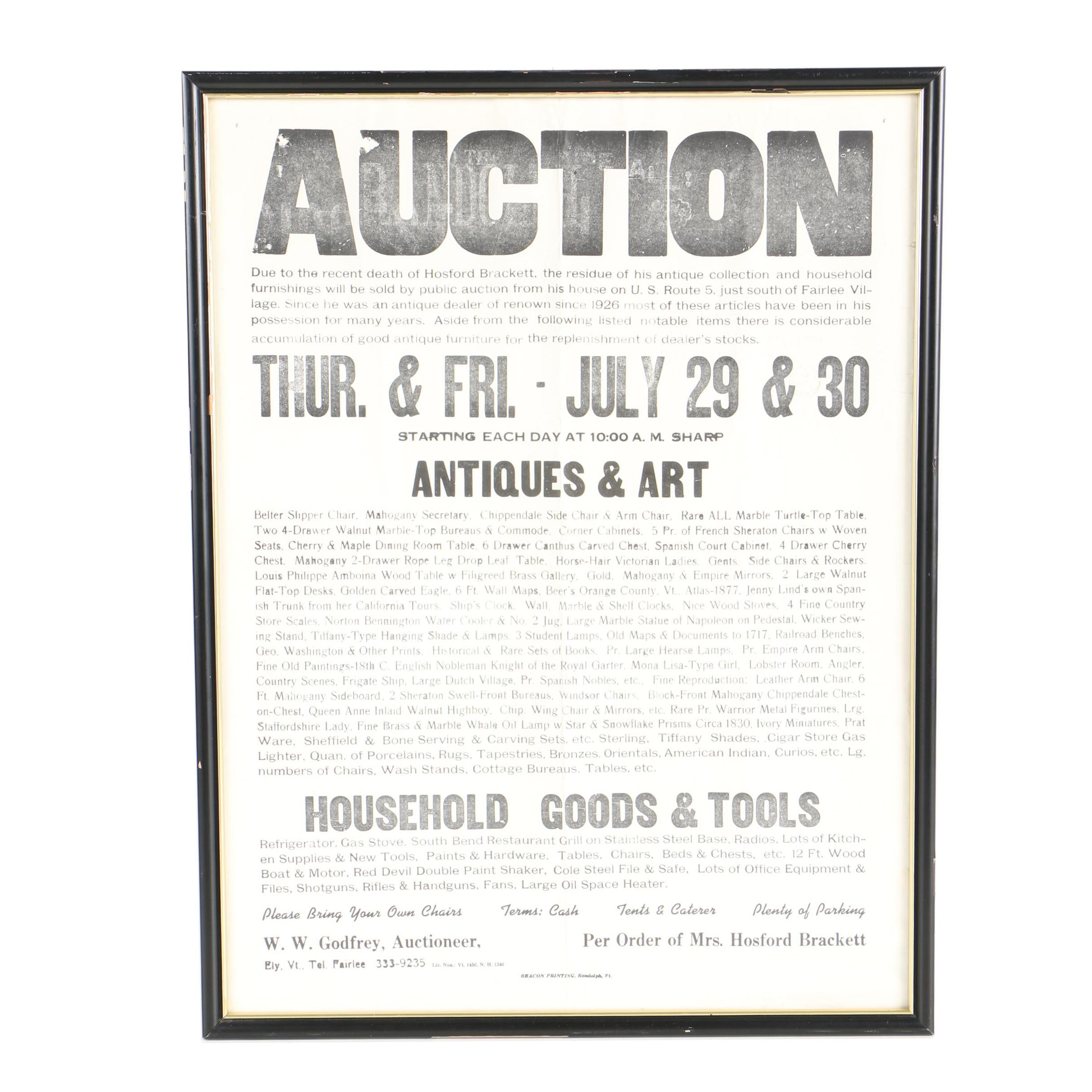 Hosford Brackett Estate Auction Poster, C. 1976