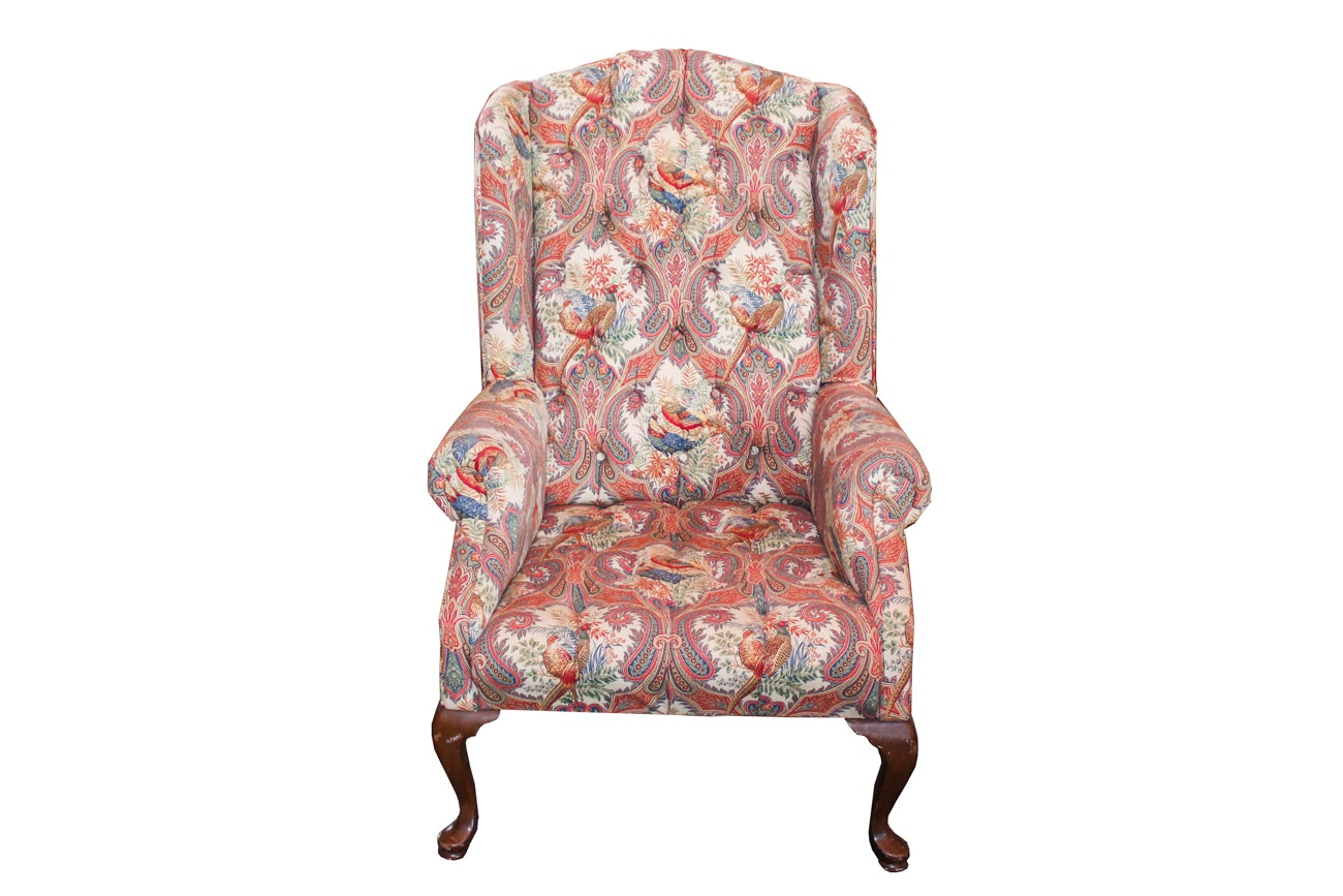 Queen Anne Style Tufted Wingback Armchair