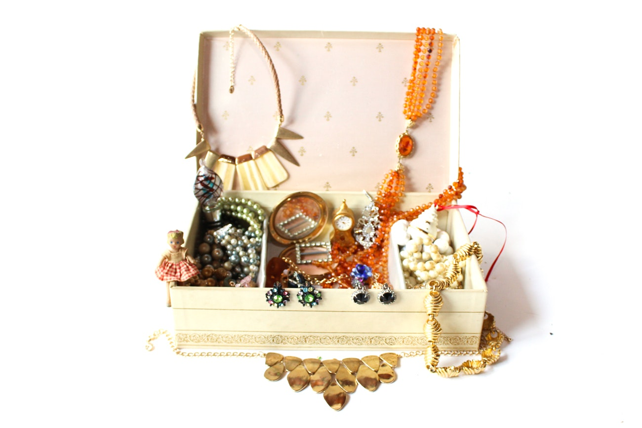 Assortment of Trinkets and Necklaces in Jewelry Box