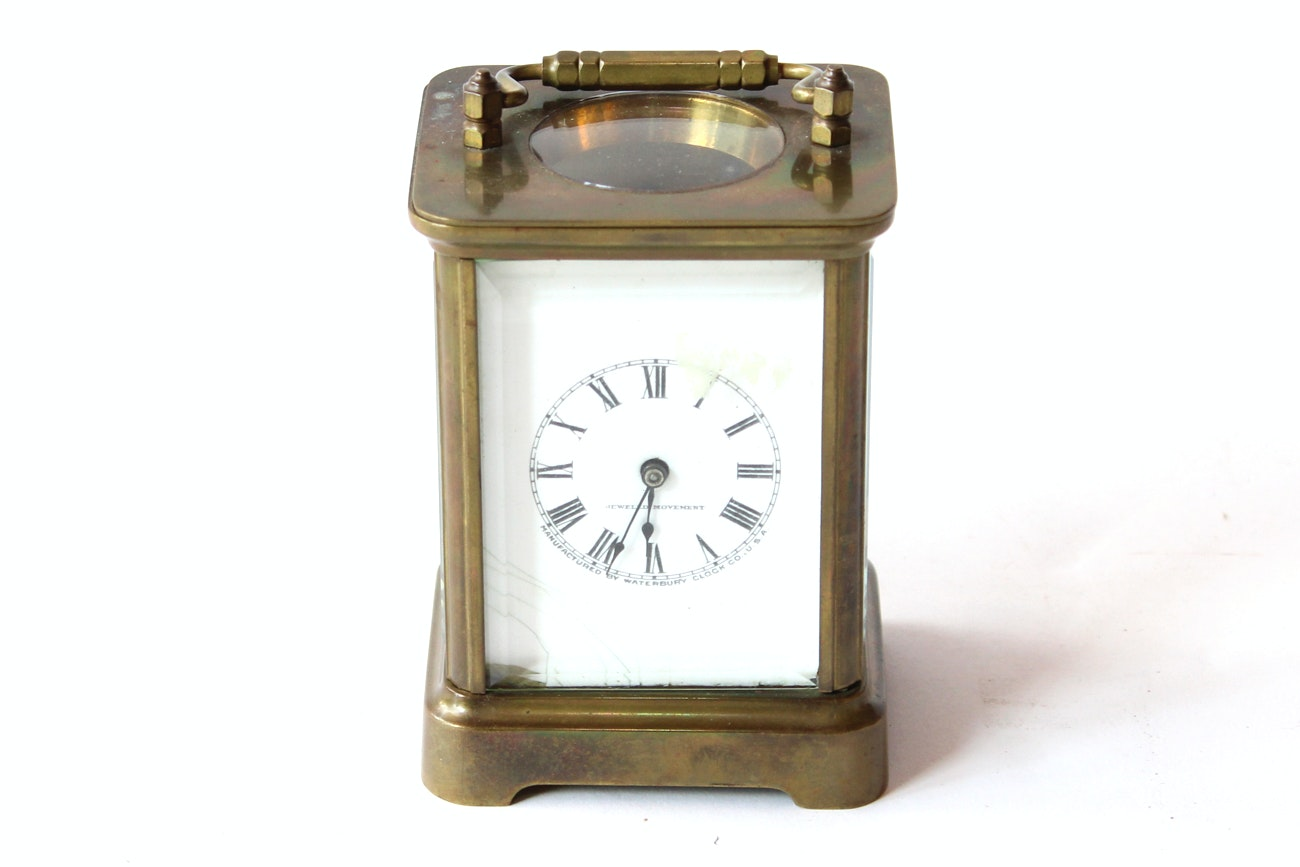 Antique Brass Waterbury Carriage Clock