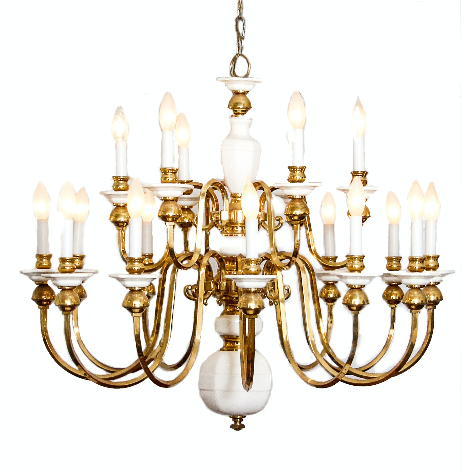 Ceramic and Brass Hanging Chandelier