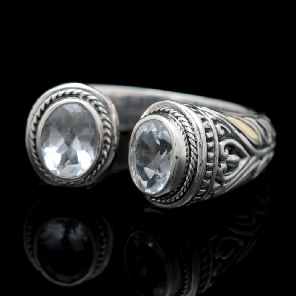 Robert Manse Sterling Silver, 18K Yellow Gold and White Topaz Open Cuff Ring
