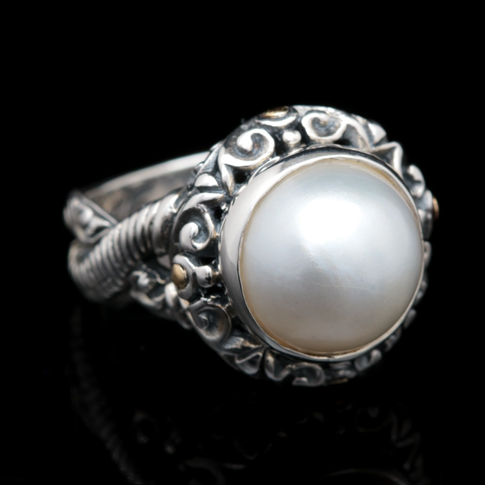 Robert Manse Sterling Silver, 18K Yellow Gold and Mabé Pearl Ring