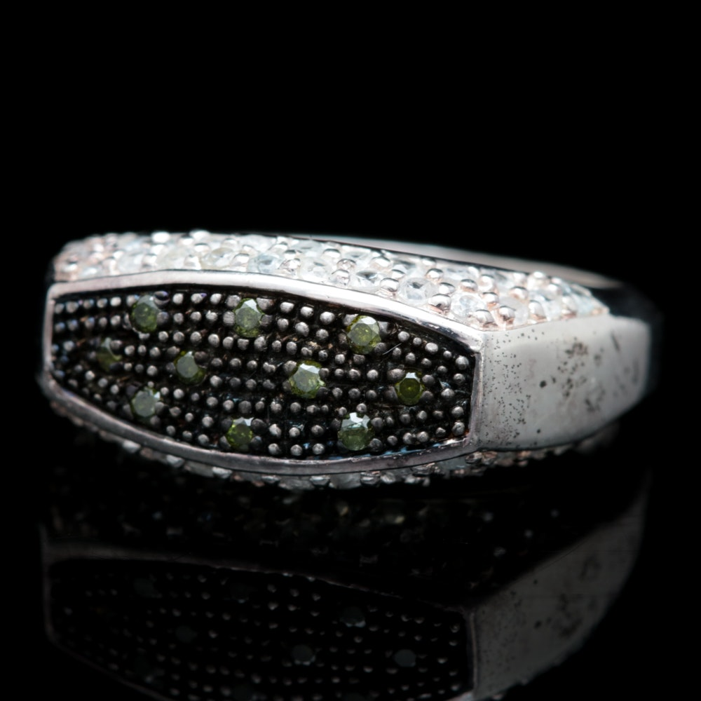 Sterling Silver, Green Diamond and White Sapphire Ring