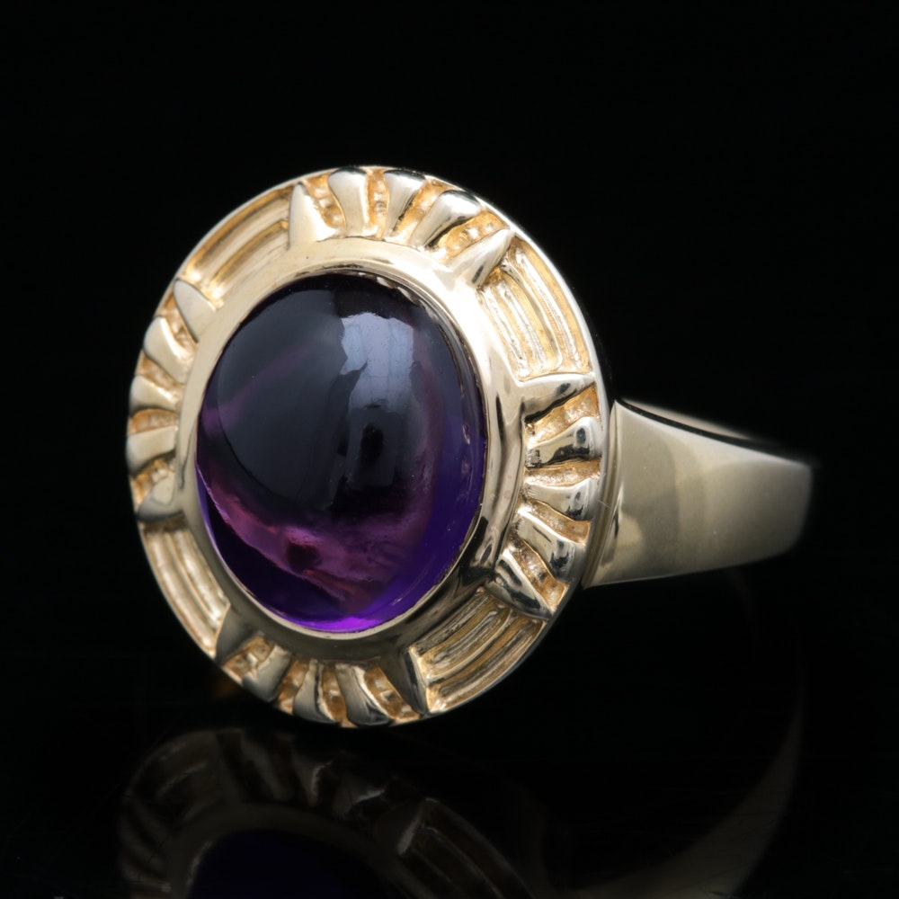 Gold Wash on Sterling Silver and Imitation Amethyst Ring